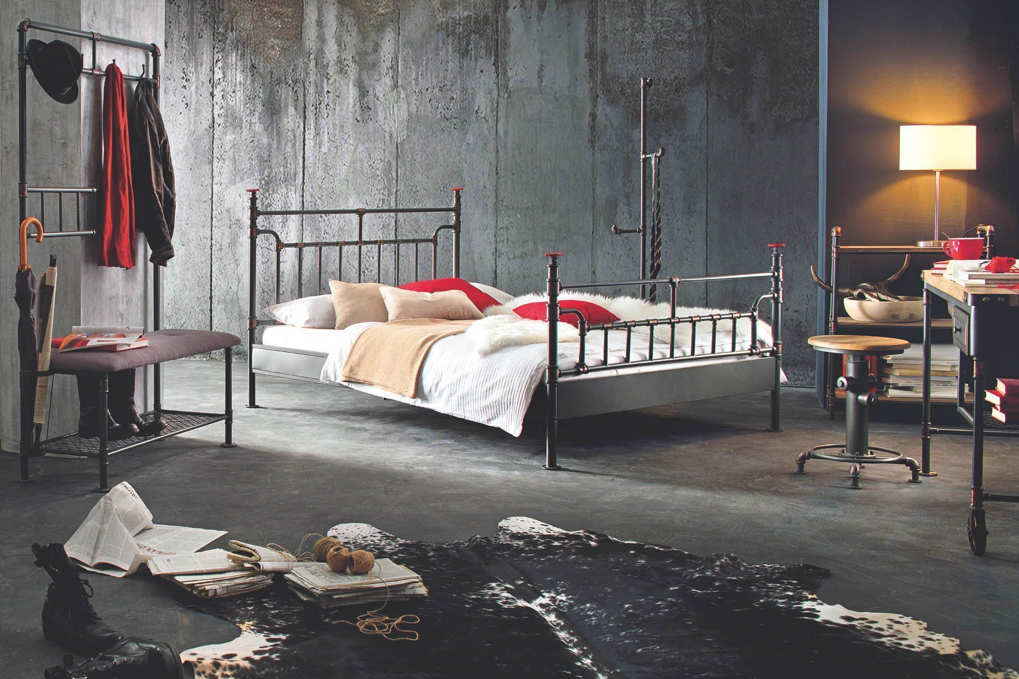 modular water pipe metallbett industrial stil m bel letz ihr online shop. Black Bedroom Furniture Sets. Home Design Ideas