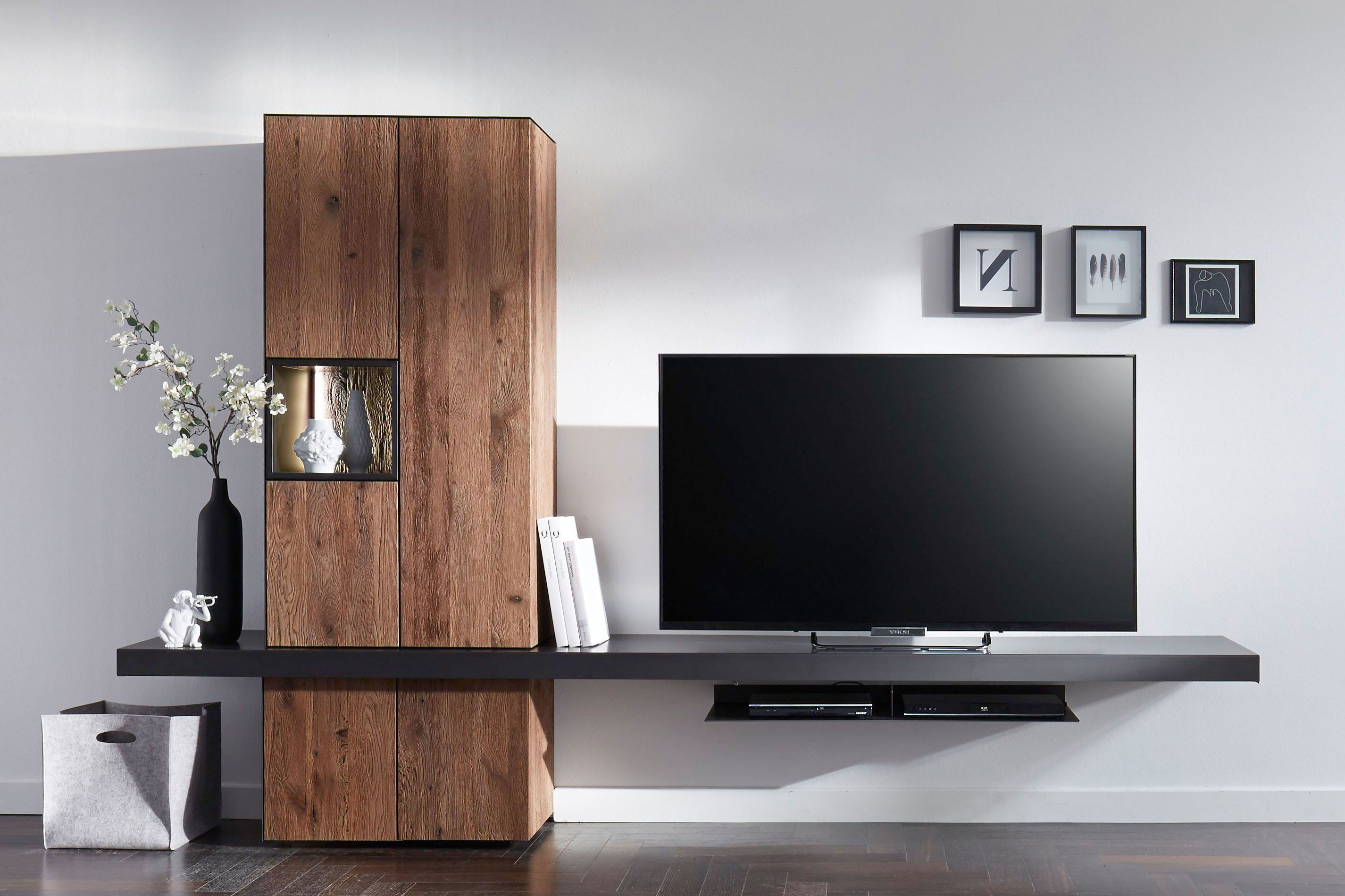 w stmann wohnwand nw 550 eiche ger uchert stahl m bel letz ihr online shop. Black Bedroom Furniture Sets. Home Design Ideas