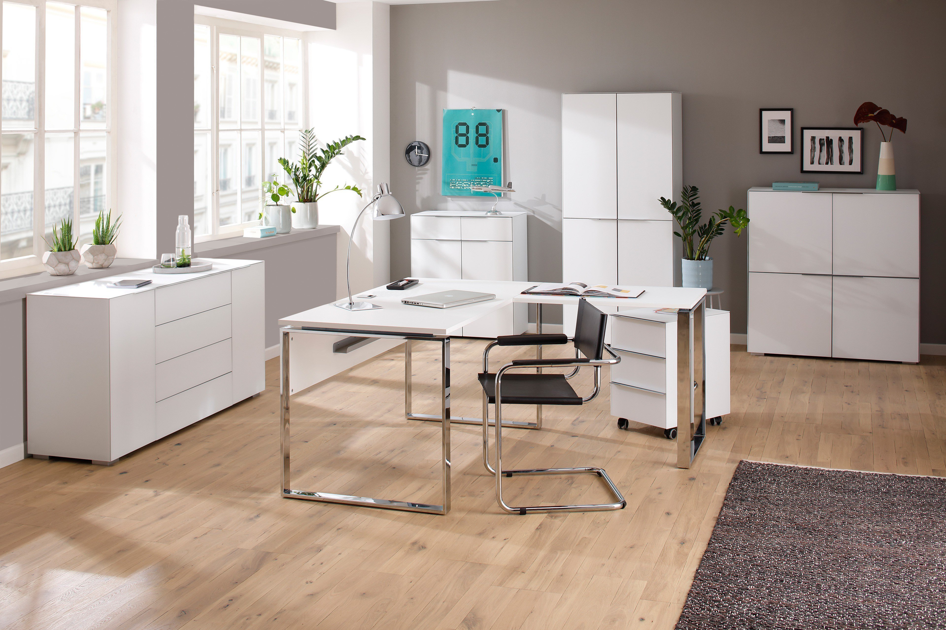 Büromöbel weiß chrom  Maja Yas Eckschreibtisch weiß | Möbel Letz - Ihr Online-Shop