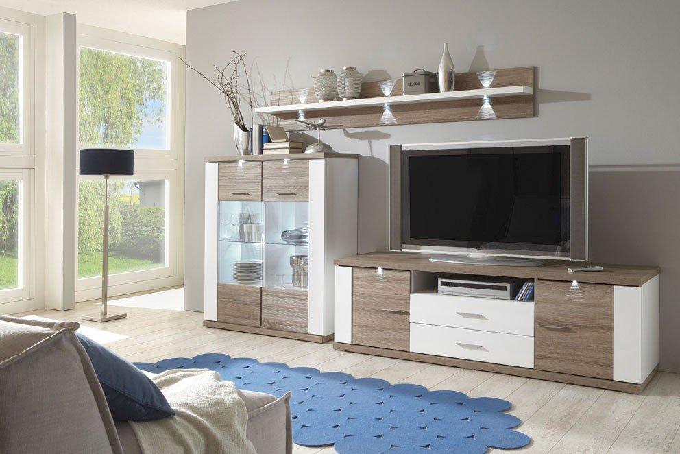 Ideal Möbel Wohnwand Manhattan 17b Weiß Eiche Trüffel Möbel Letz