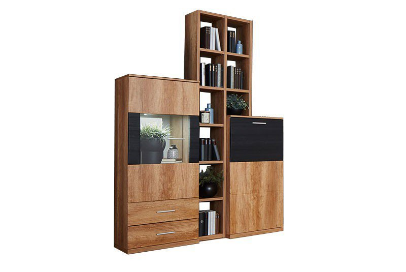 prenneis regalkombination miami plus k4 goldeiche schwarz. Black Bedroom Furniture Sets. Home Design Ideas