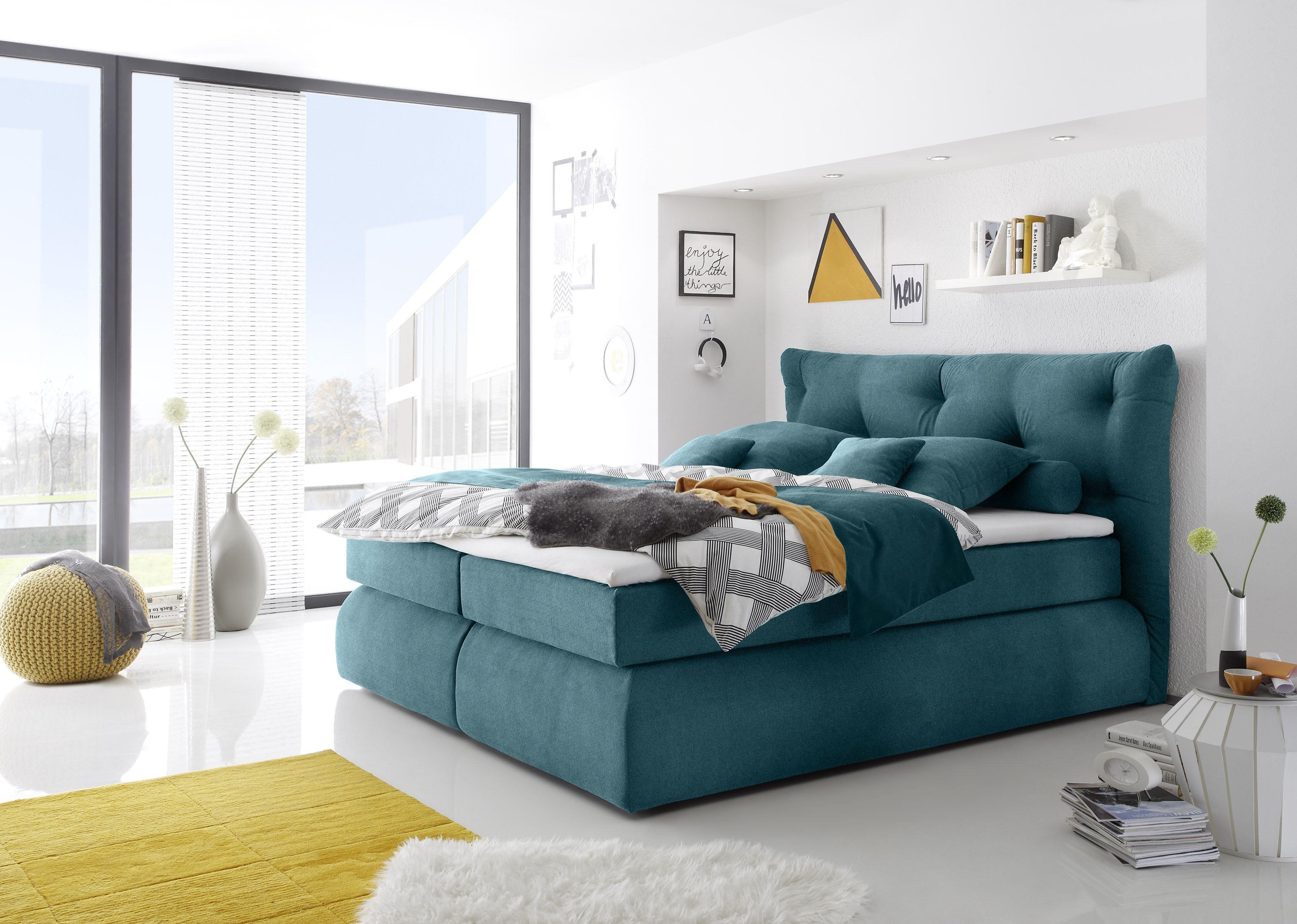 black red white boxspringbett madison shelton in petrol m bel letz ihr online shop. Black Bedroom Furniture Sets. Home Design Ideas