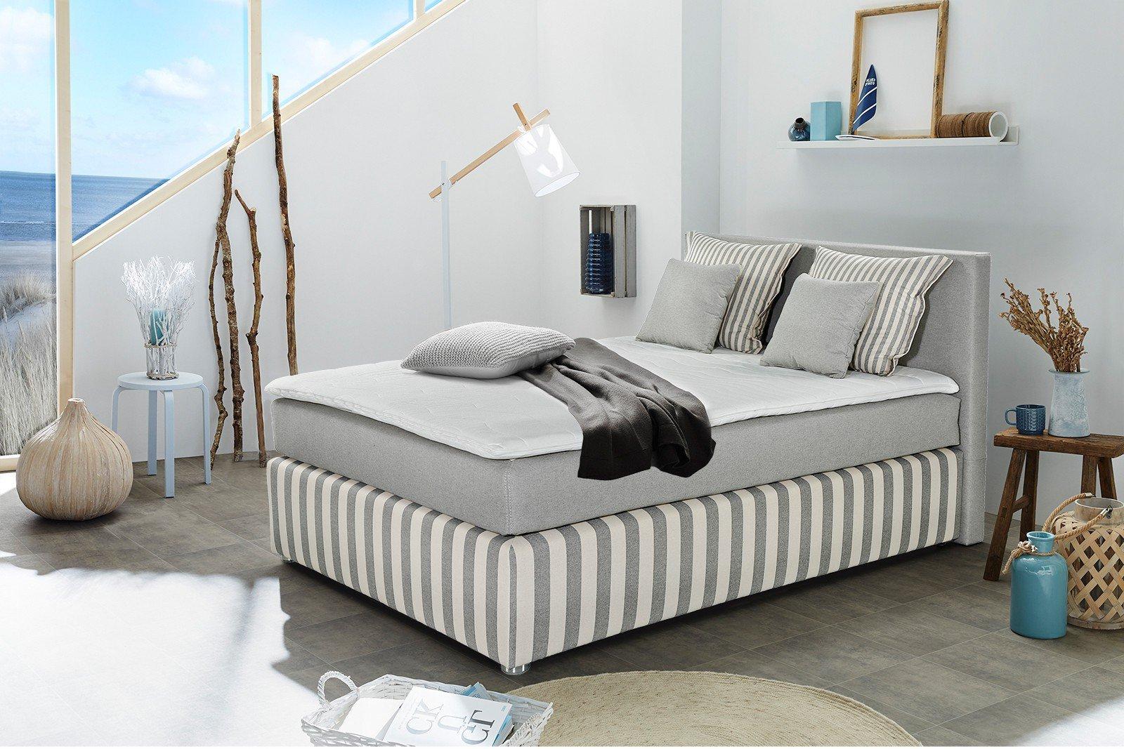jockenh fer boxspringbett stino 140 x 200 cm grau. Black Bedroom Furniture Sets. Home Design Ideas