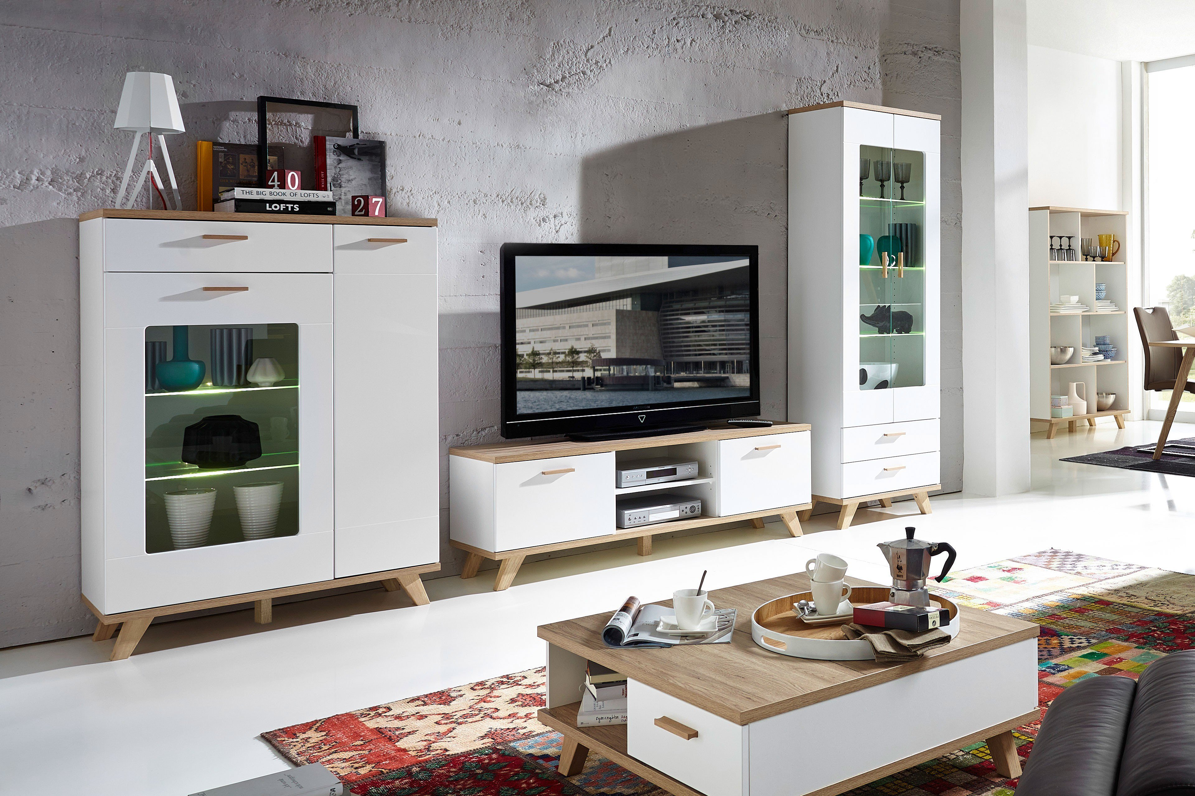 germania wohnwand oslo wei sanremo eiche m bel letz ihr online shop. Black Bedroom Furniture Sets. Home Design Ideas