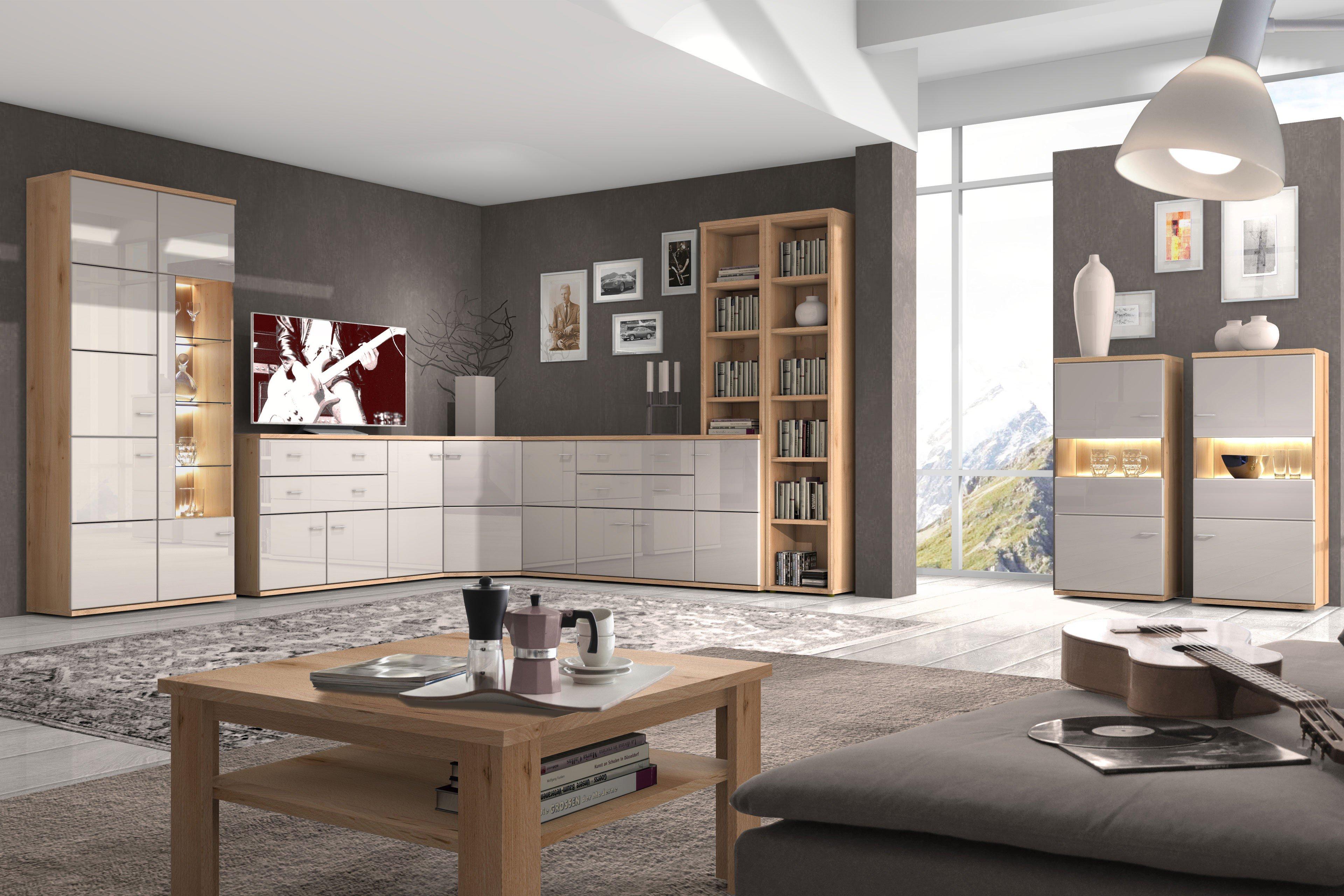 Eck Wohnwand Wohnzimmer ~ Stralsunder eck wohnwand largo naturbuche cappuccino
