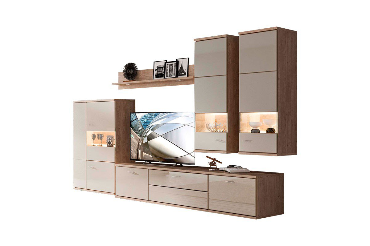 stralsunder wohnwand largo eb 33003 wildeiche cappuccino hochglanz m bel letz ihr online shop. Black Bedroom Furniture Sets. Home Design Ideas