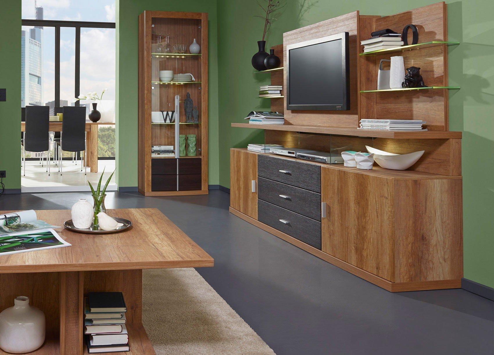 prenneis wohnwand montreal plus goldeiche pinie braun m bel letz ihr online shop. Black Bedroom Furniture Sets. Home Design Ideas