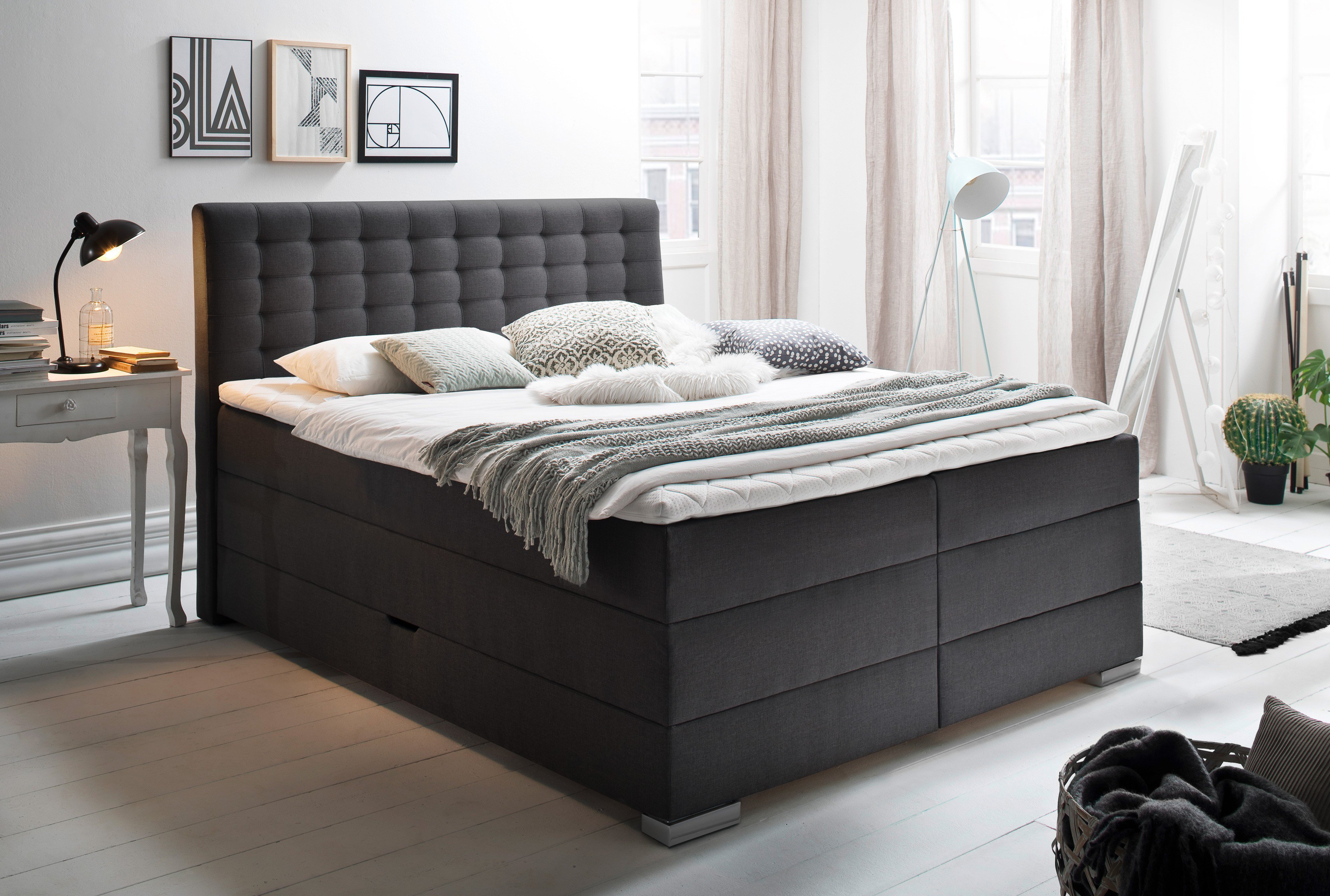 meise boxspringbett lenno in anthrazit inklusive bettkasten m bel letz ihr online shop. Black Bedroom Furniture Sets. Home Design Ideas