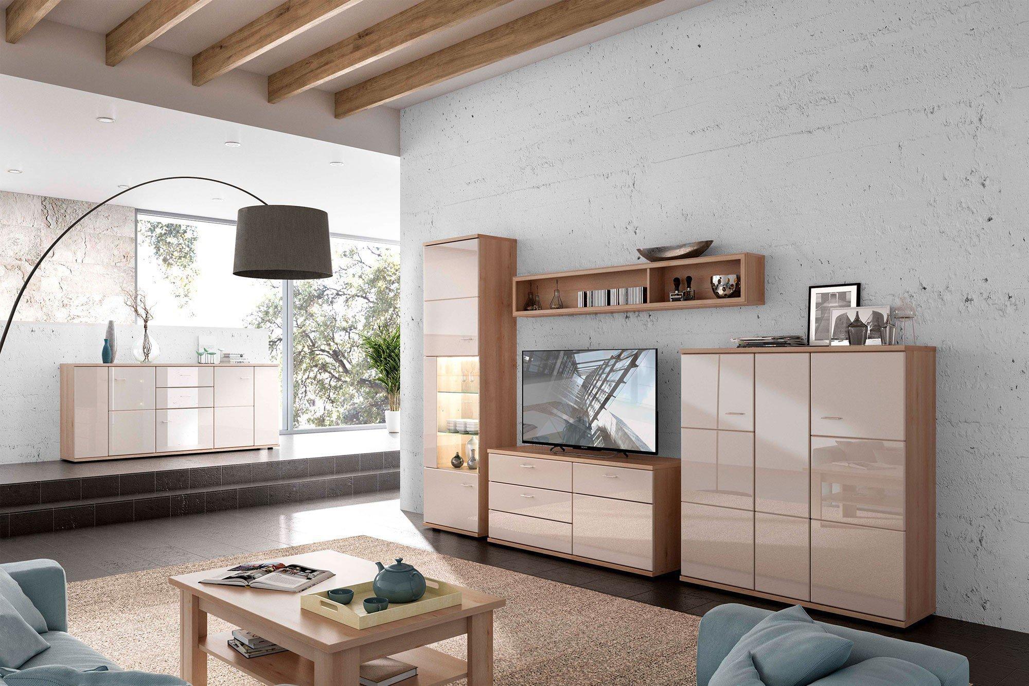 Stralsunder wohnwand largo eb 34504 naturbuche cappuccino m bel letz ihr online shop - Wohnwand cappuccino ...