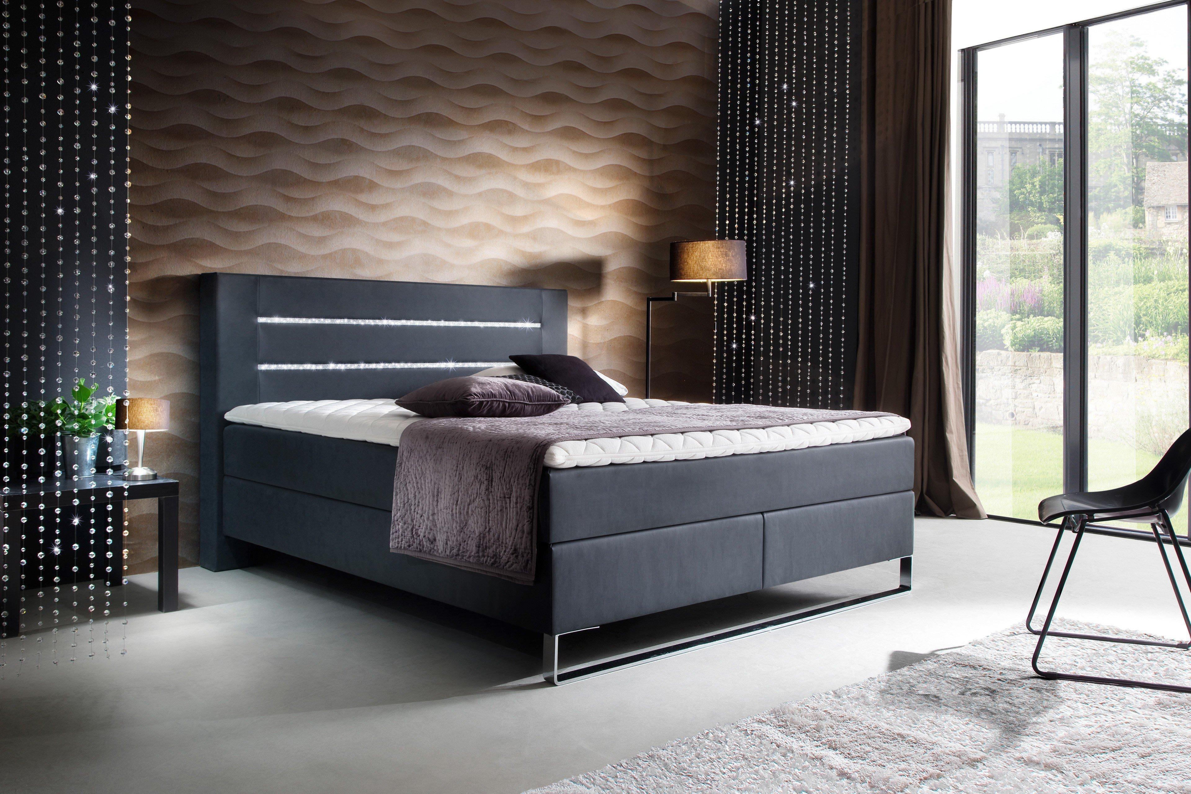 meise boxspringbett planeta in anthrazit mit swarovski kristall leisten m bel letz ihr. Black Bedroom Furniture Sets. Home Design Ideas