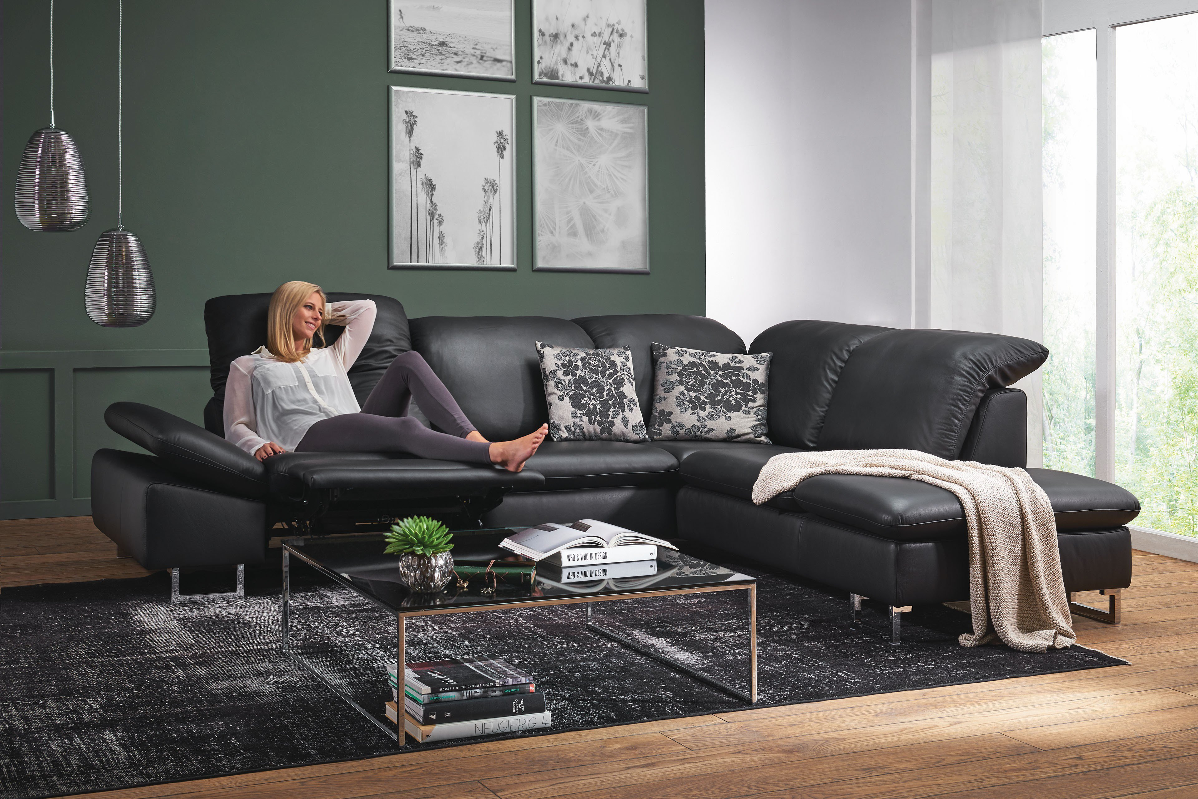 willi schillig 35270 enjoy relax ledersofa in schwarz m bel letz ihr online shop. Black Bedroom Furniture Sets. Home Design Ideas