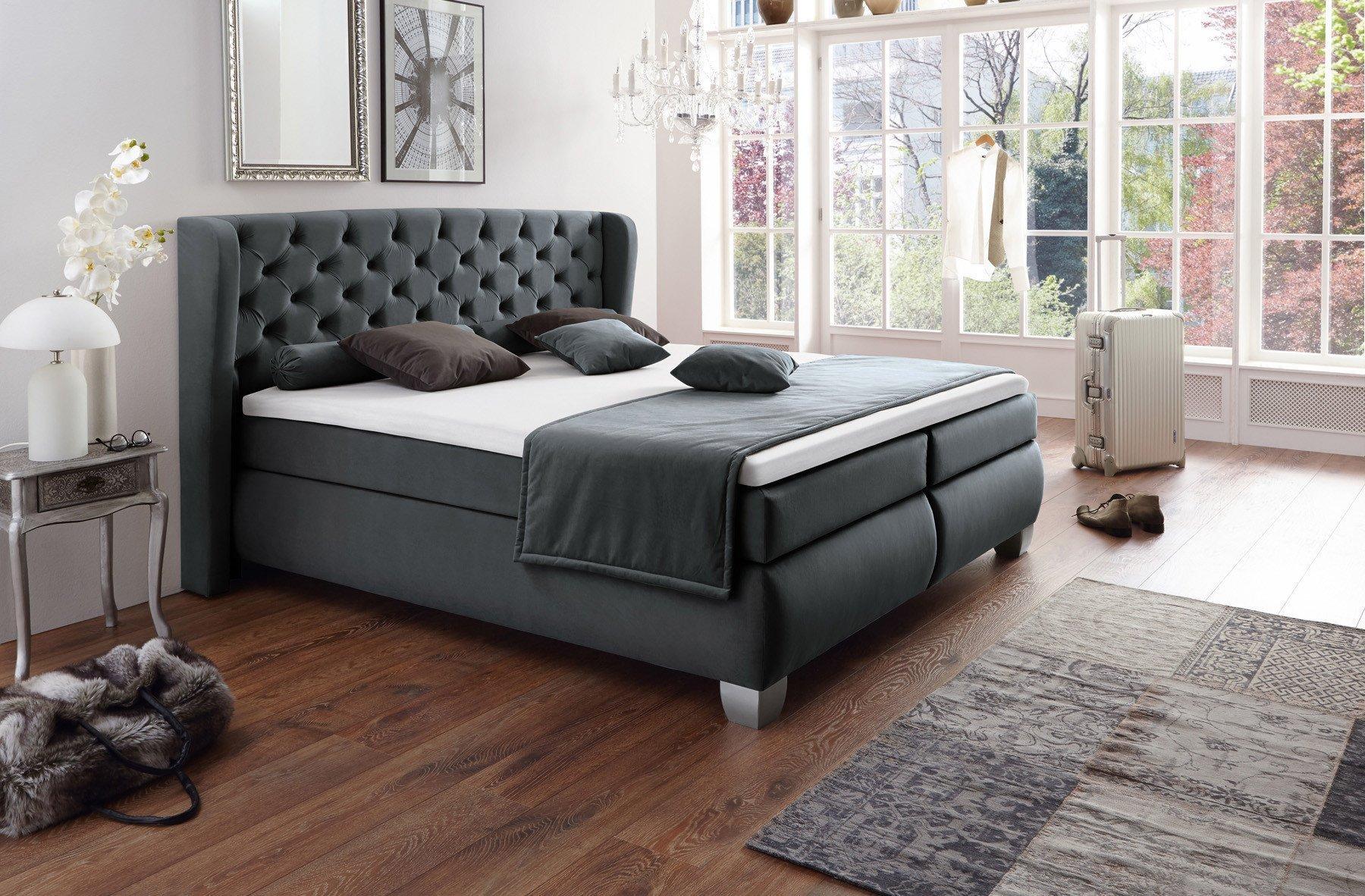 boxspringbett chester von hapo mit knopfheftung in. Black Bedroom Furniture Sets. Home Design Ideas