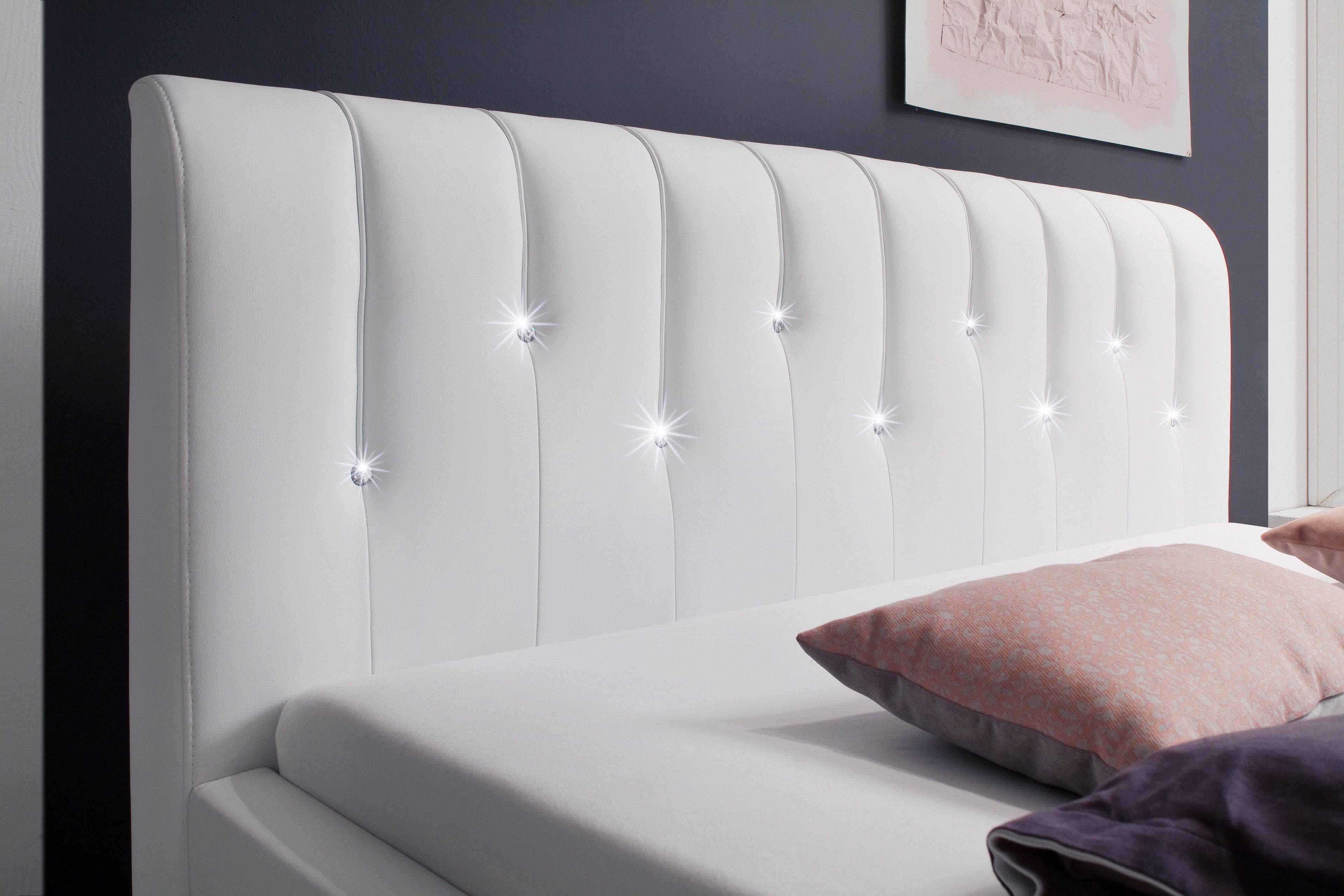 meise polsterbett rapido in kunstleder wei mit swarovski. Black Bedroom Furniture Sets. Home Design Ideas