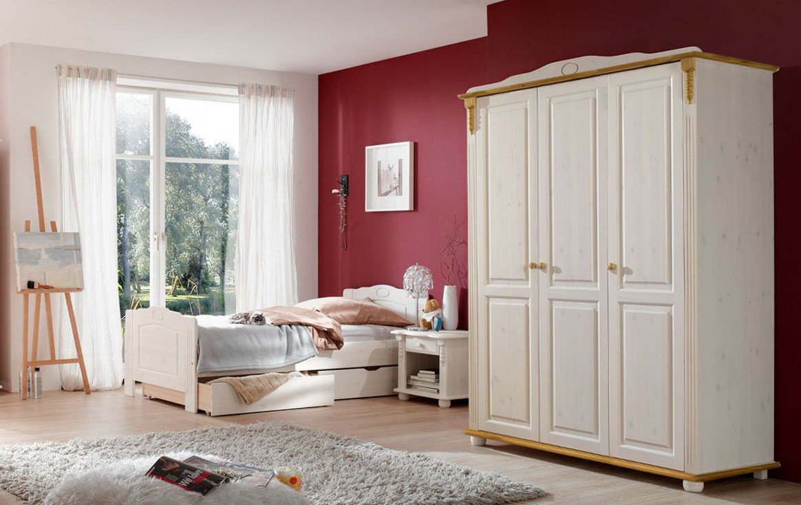 schrank und bett kiefer wei lenke von pure natur m bel letz ihr online shop. Black Bedroom Furniture Sets. Home Design Ideas
