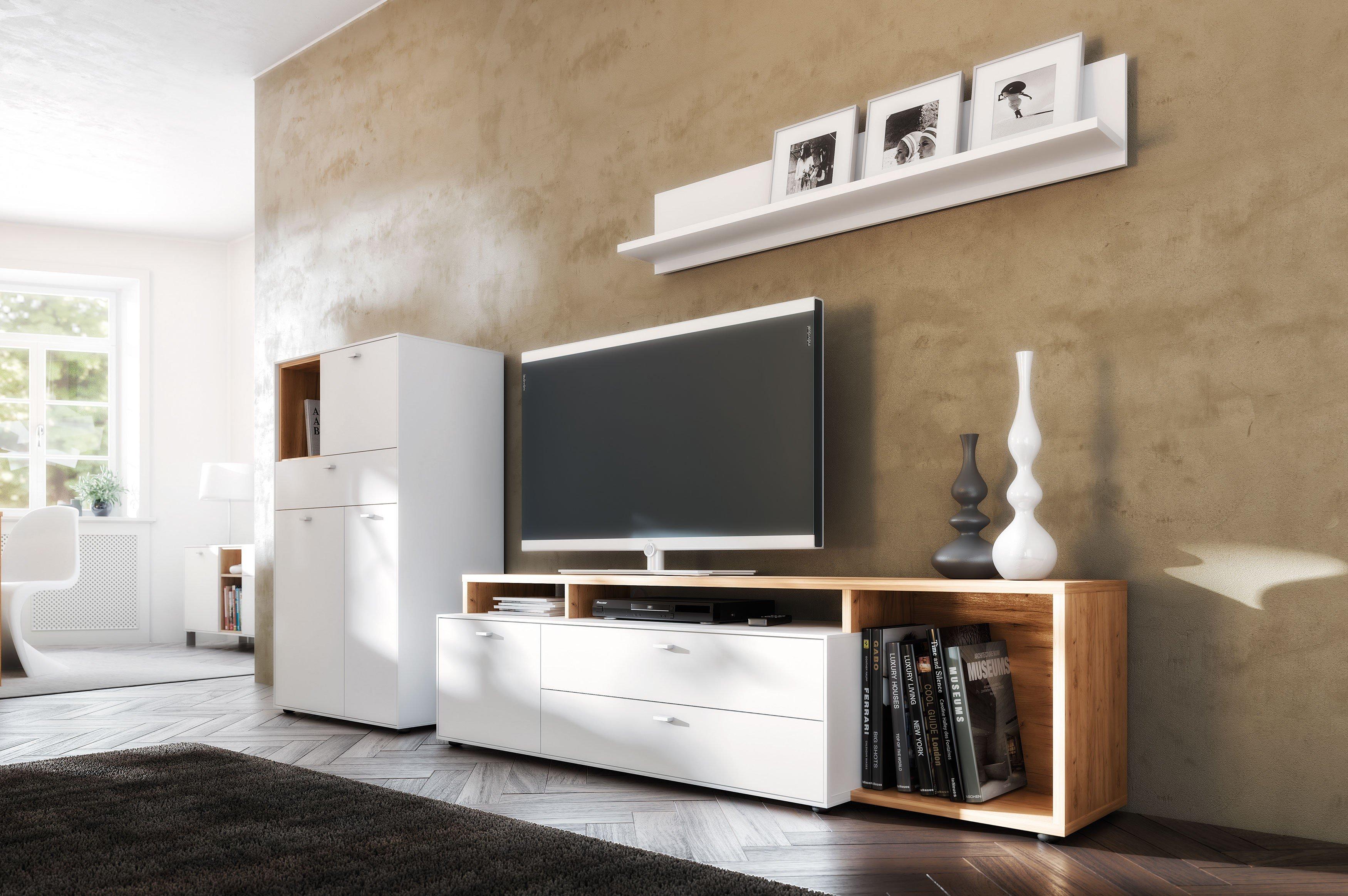 Germania Wohnwand Design2 Eiche/ weiß | Möbel Letz - Ihr Online-Shop