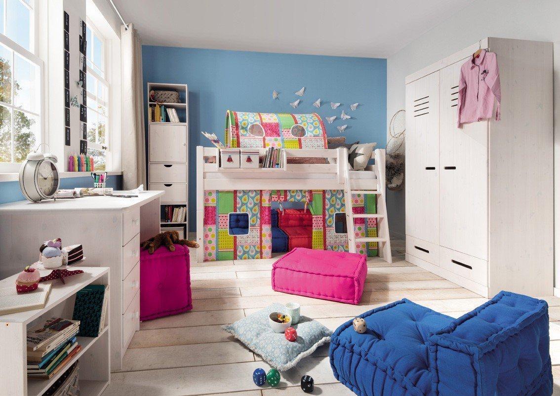 Pure Natur - Halbhohes Kinderbett Kiefer massiv weiß | Möbel Letz ...