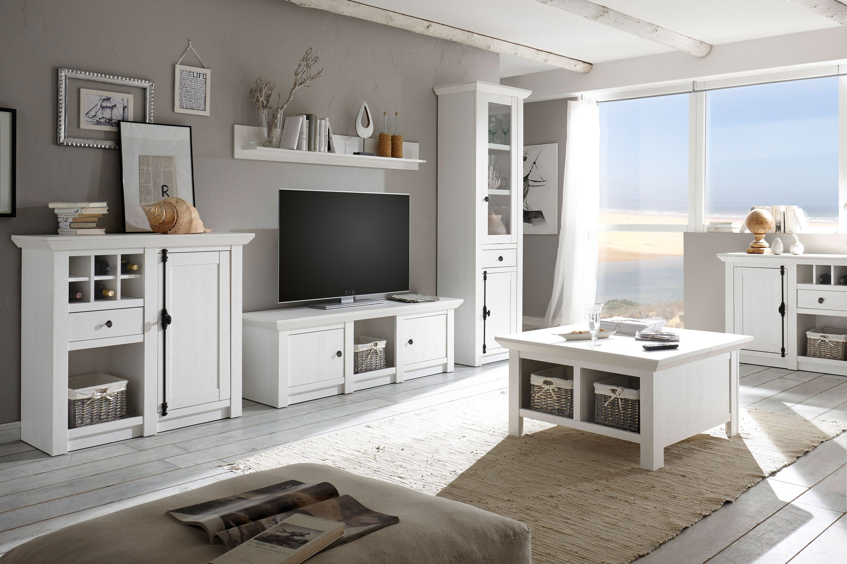 imv steinheim wohnwand westerland pinie wei m bel letz ihr online shop. Black Bedroom Furniture Sets. Home Design Ideas