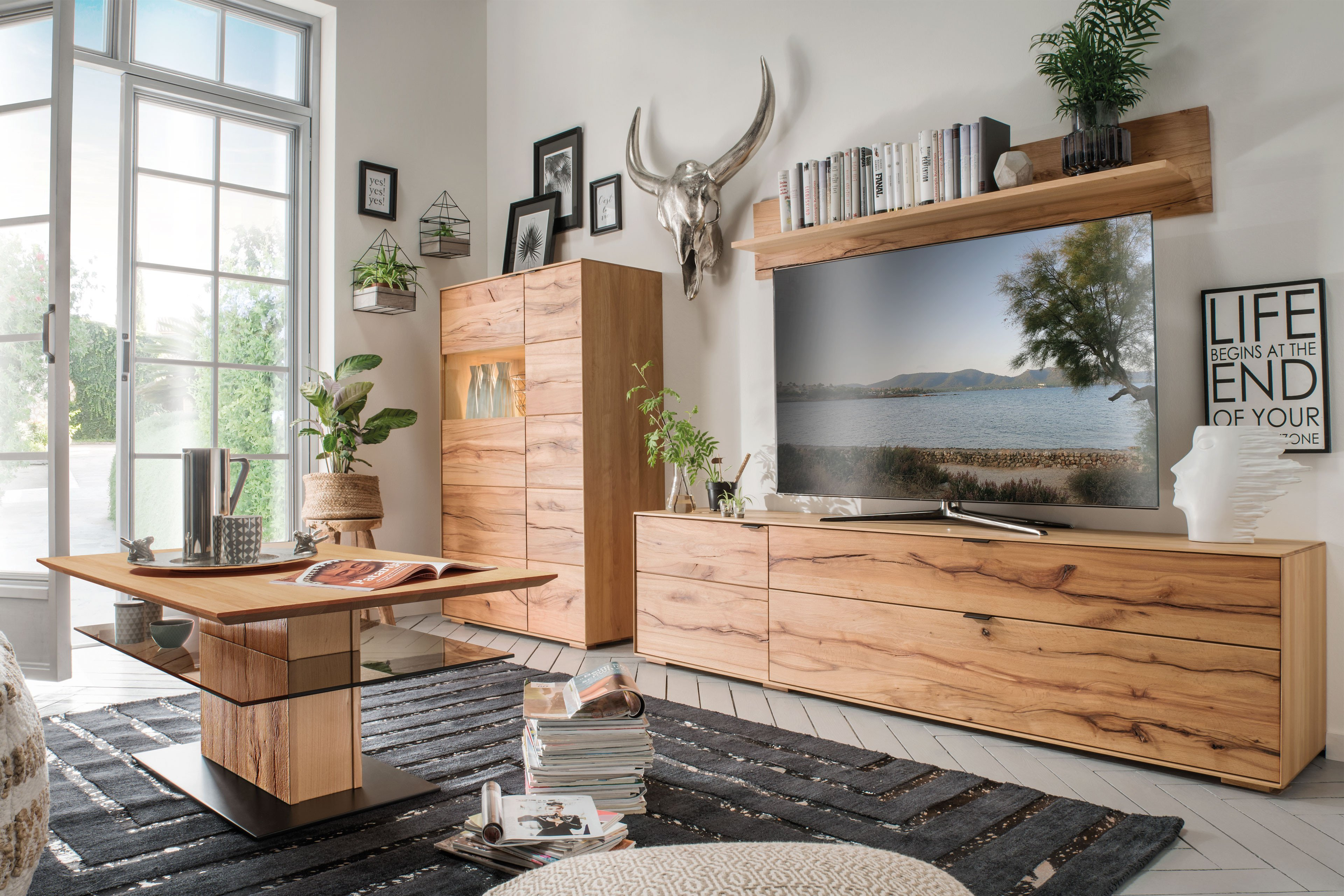 pure natur wohnwand widar buche wildkernbuche massiv. Black Bedroom Furniture Sets. Home Design Ideas