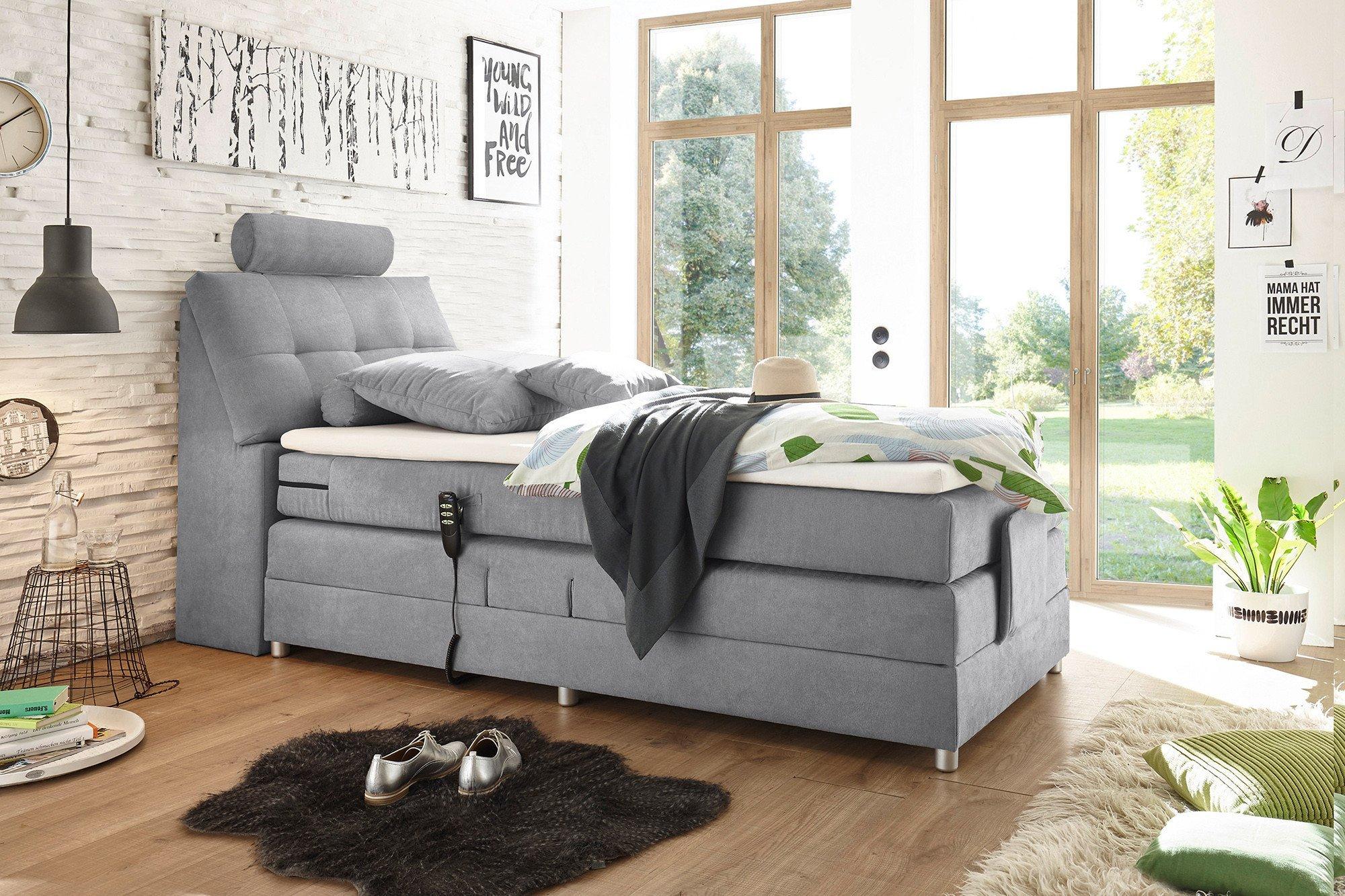 black red white boxspringbett palermo in grau ca 120 x 200 cm m bel letz ihr online shop. Black Bedroom Furniture Sets. Home Design Ideas