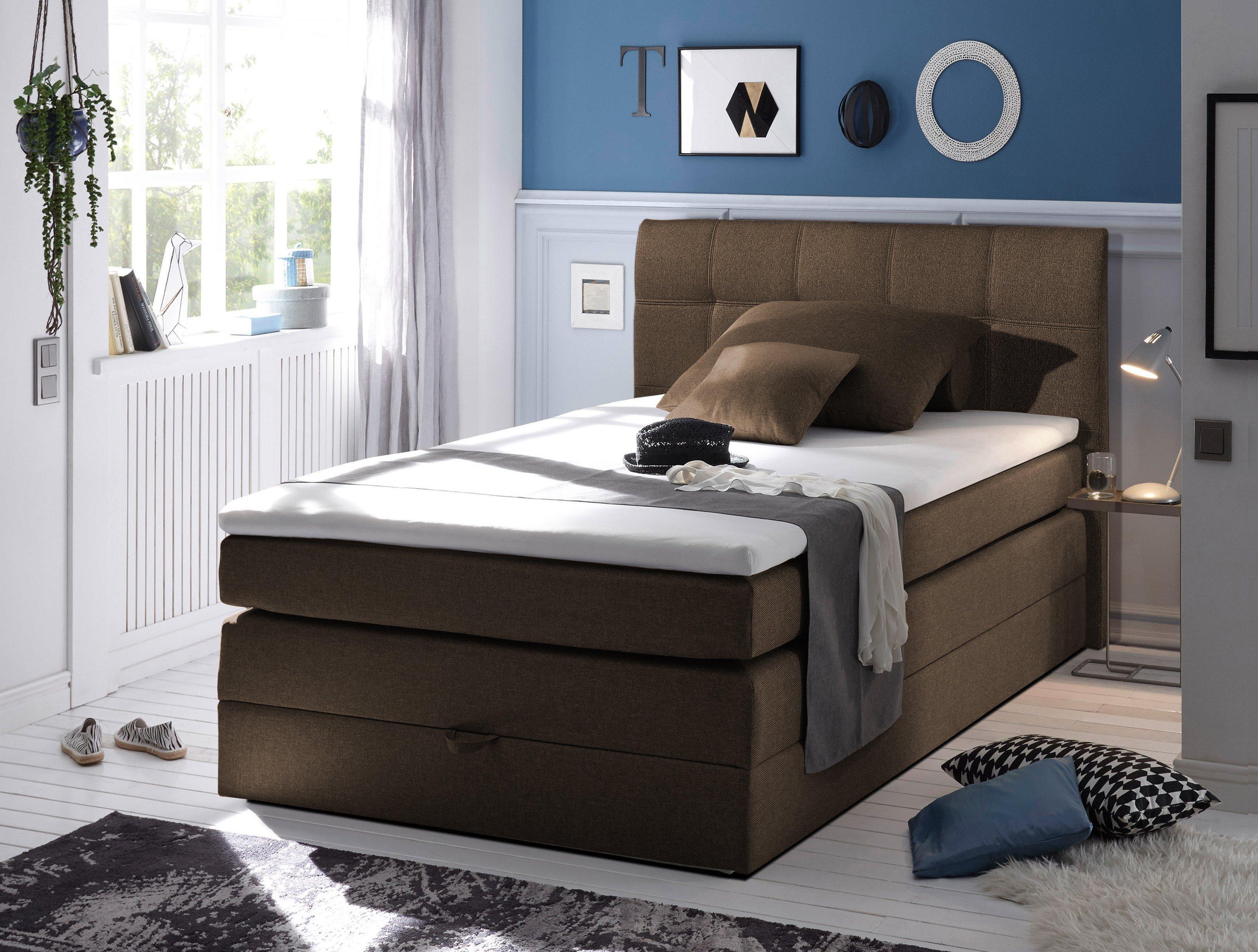 boxspringbett new bedford gertrud black red white in braun mit bettkasten m bel letz ihr. Black Bedroom Furniture Sets. Home Design Ideas