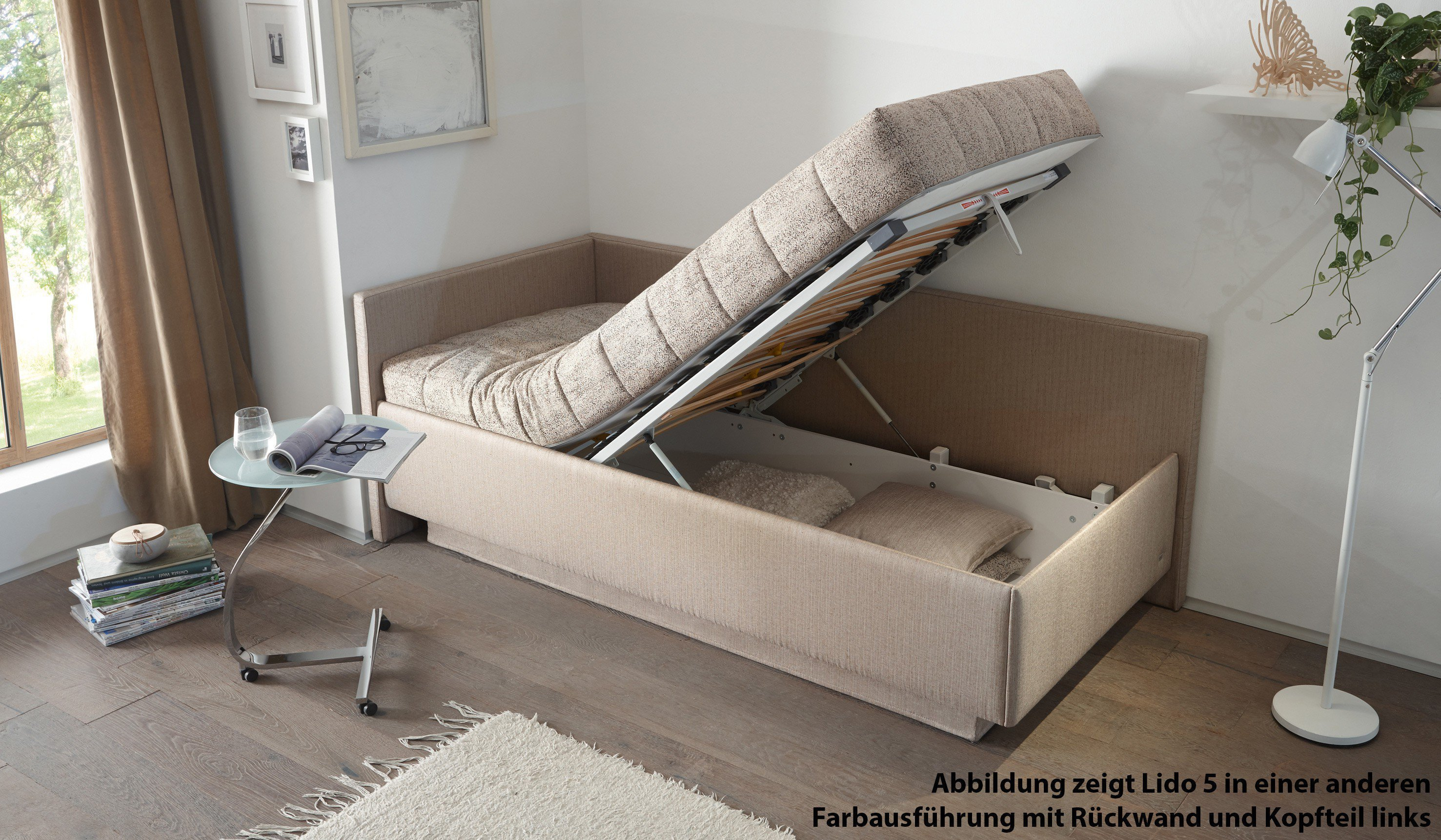 ruf polsterbett modell lido in dunkelblau mit bettkasten. Black Bedroom Furniture Sets. Home Design Ideas