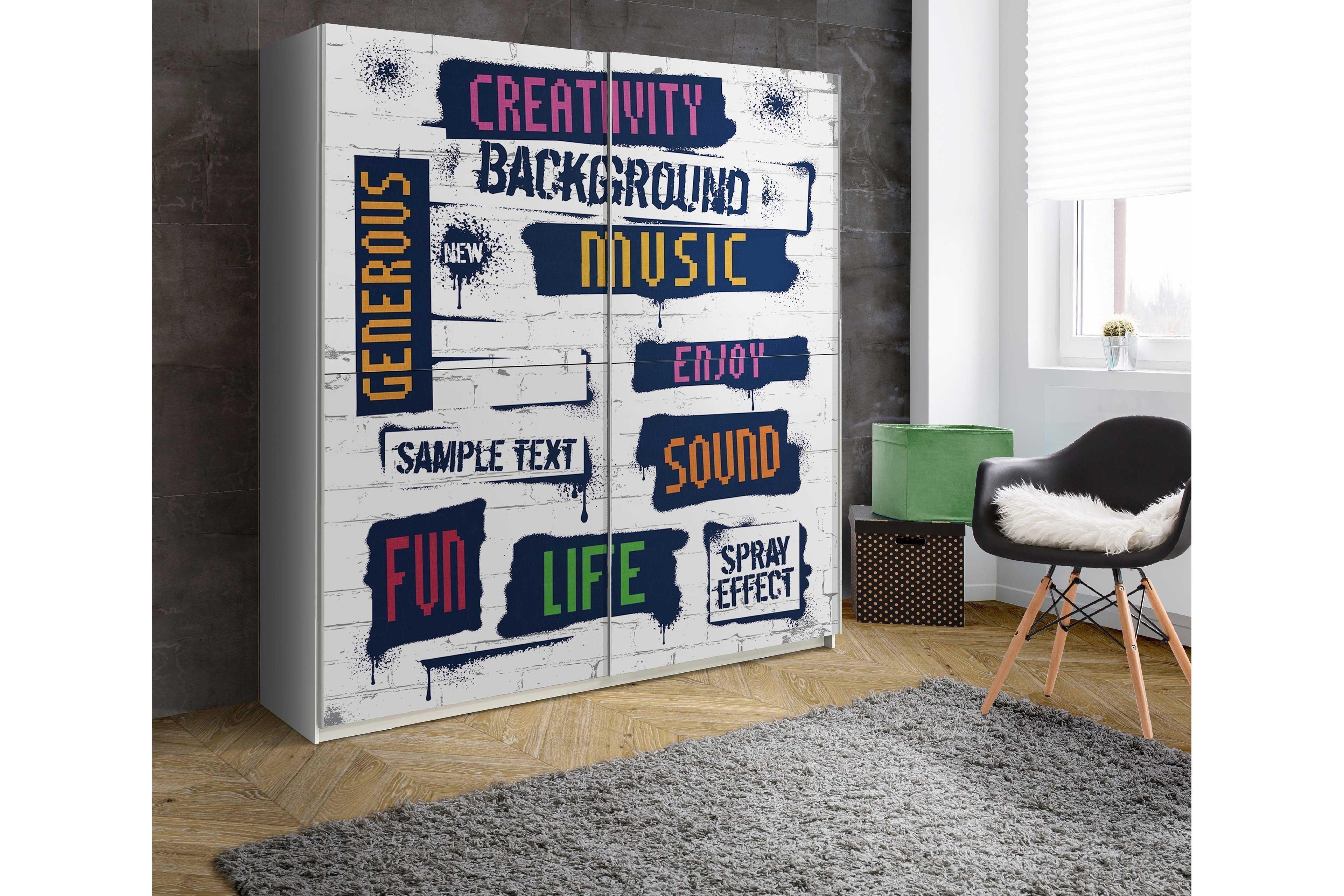 plakato von forte schwebeturenschrank creativity in color