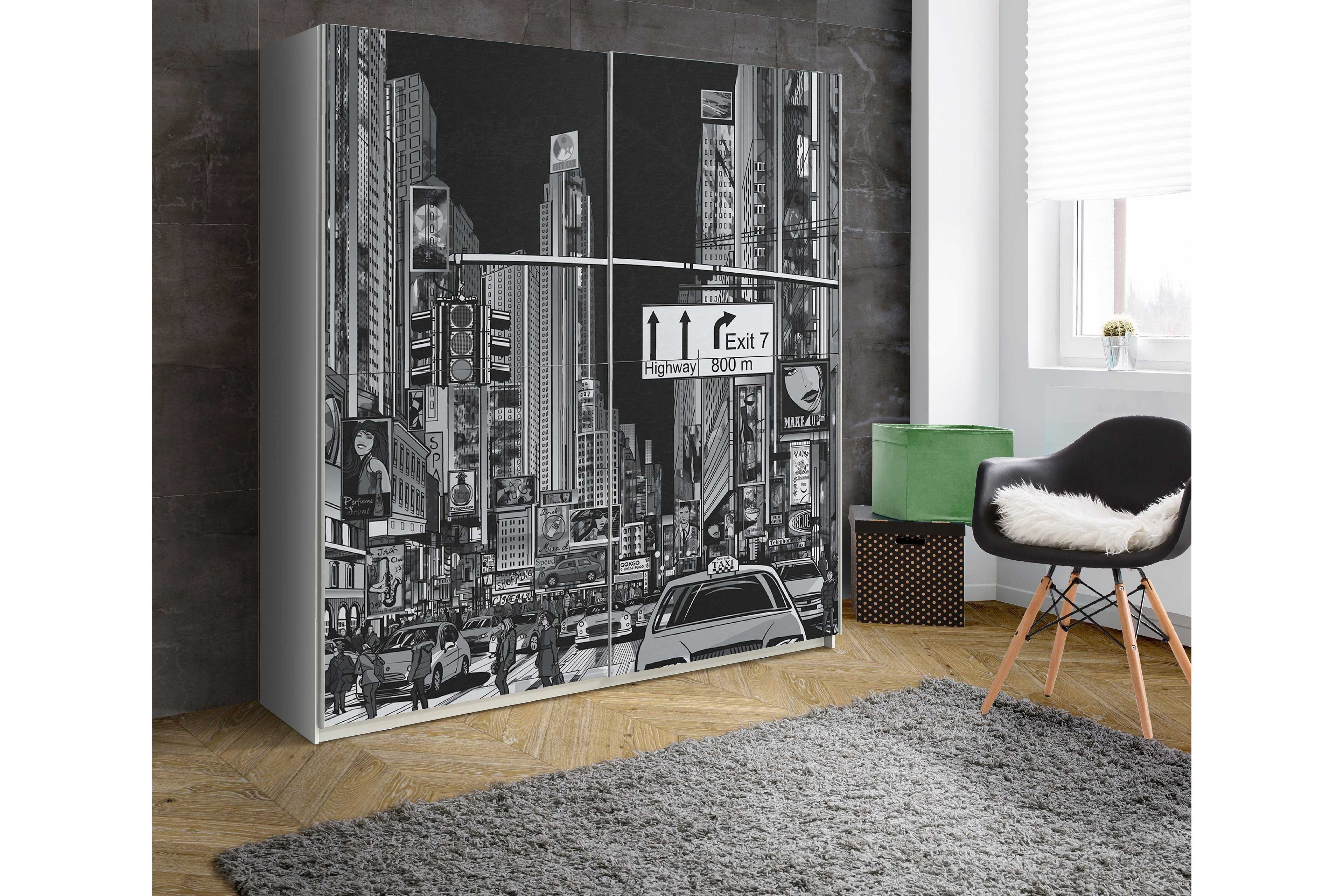 plakato von forte schrank new york black white m bel. Black Bedroom Furniture Sets. Home Design Ideas