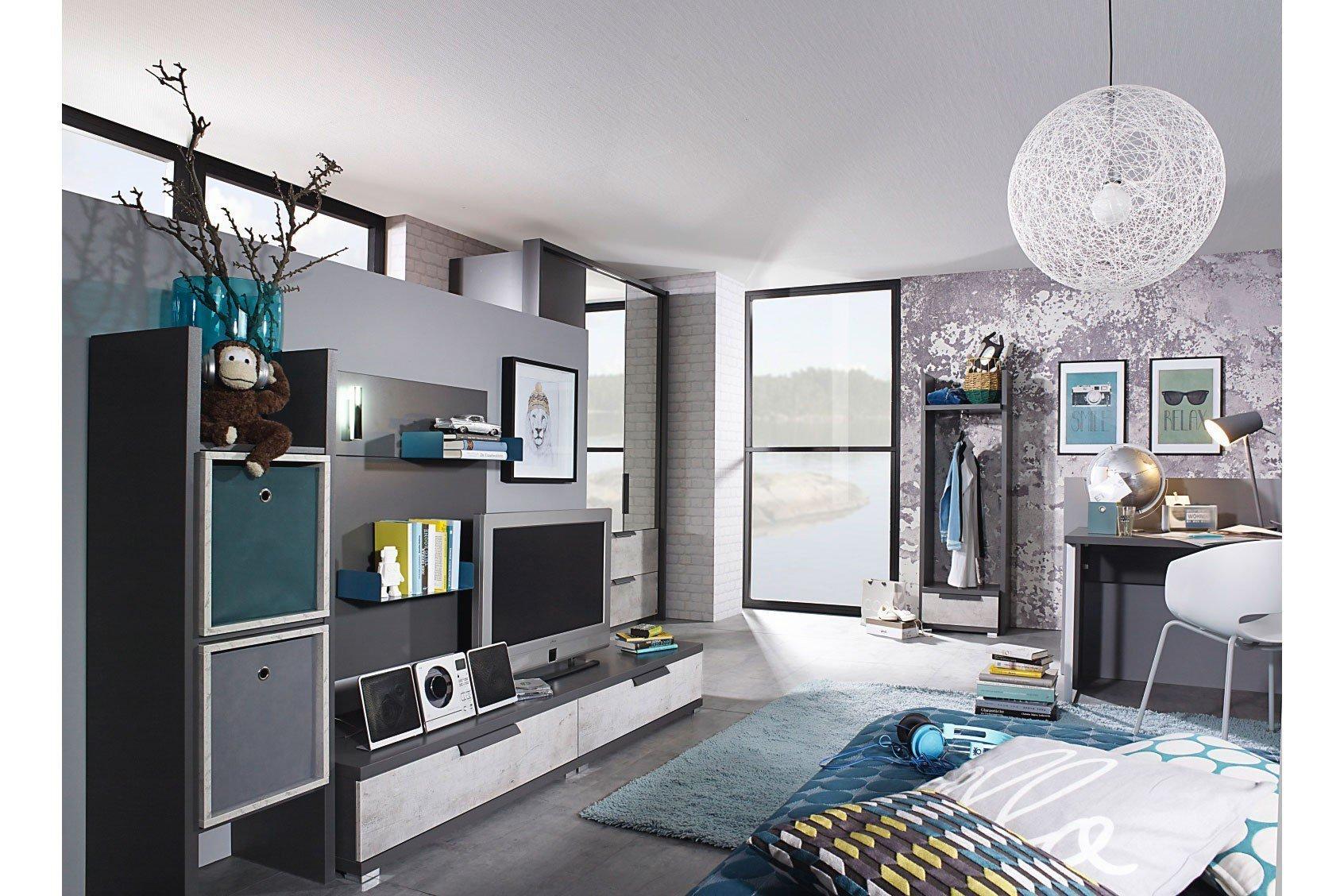 rauch wohnwand nice4teens graphit steingrau m bel letz ihr online shop. Black Bedroom Furniture Sets. Home Design Ideas