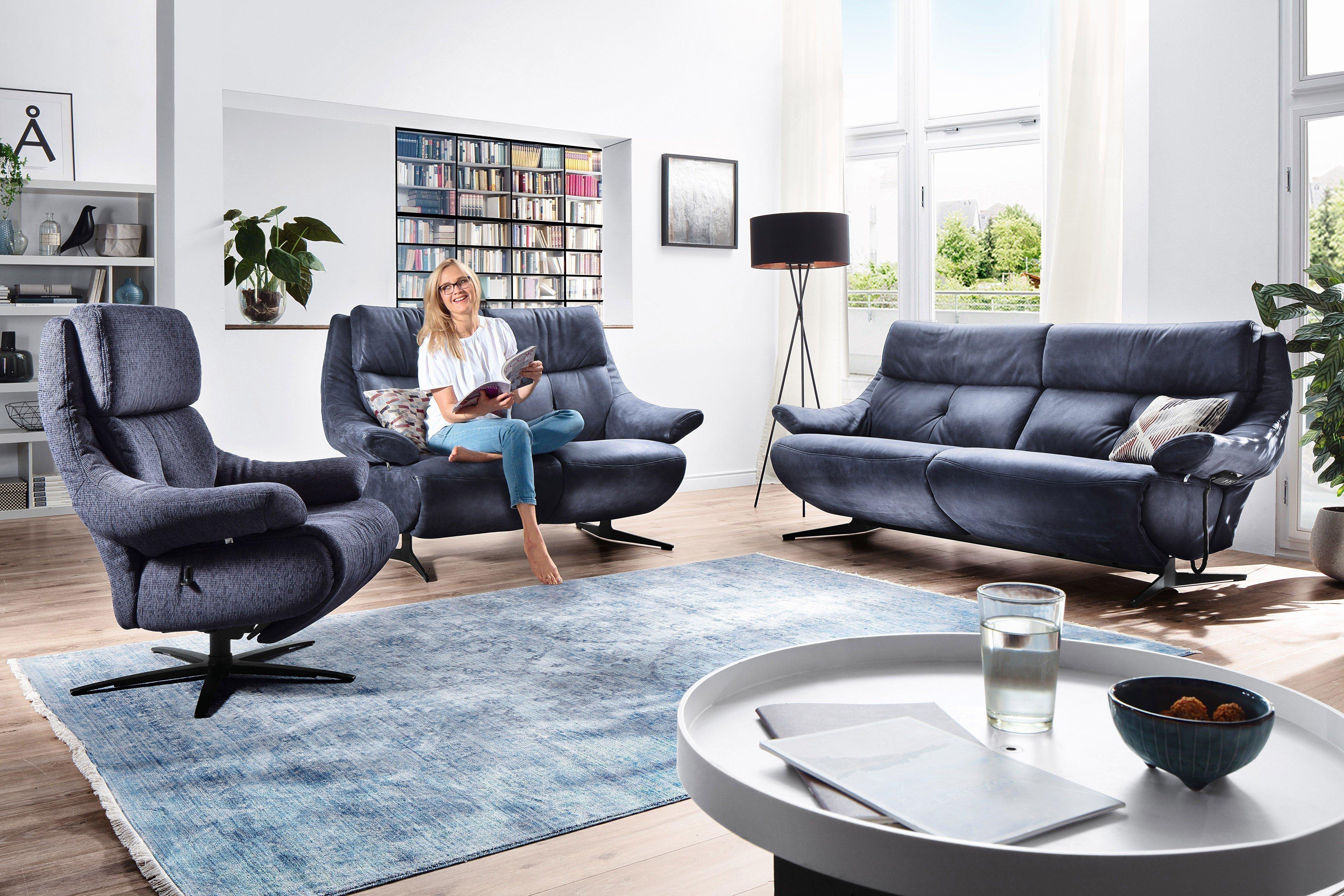 himolla polsterm bel 4702 ledergarnitur in blau m bel. Black Bedroom Furniture Sets. Home Design Ideas