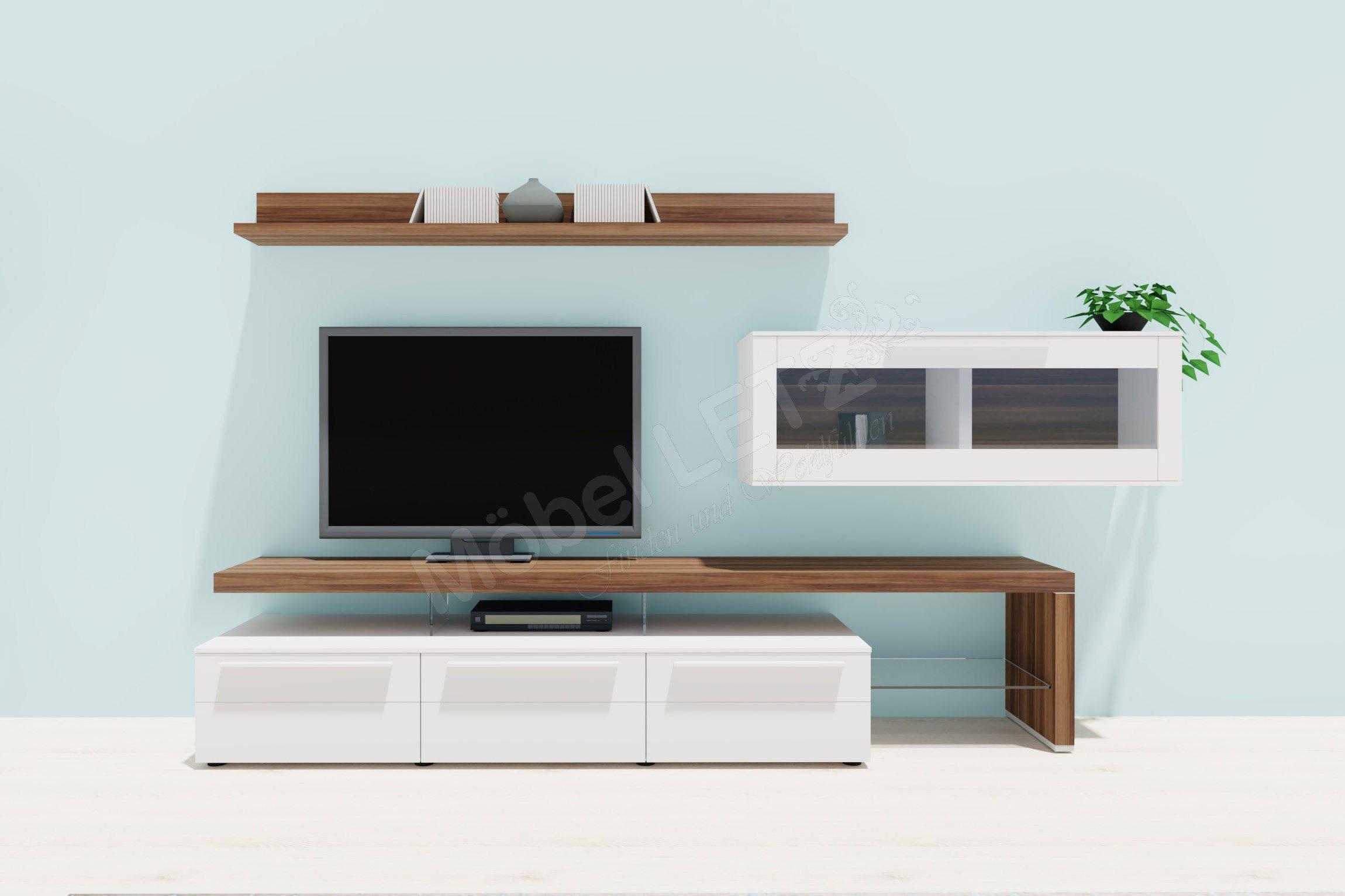 Gwinner Wohnwand Bellano BE 24 Weiß/ Nussbaum | Möbel Letz   Ihr Online Shop