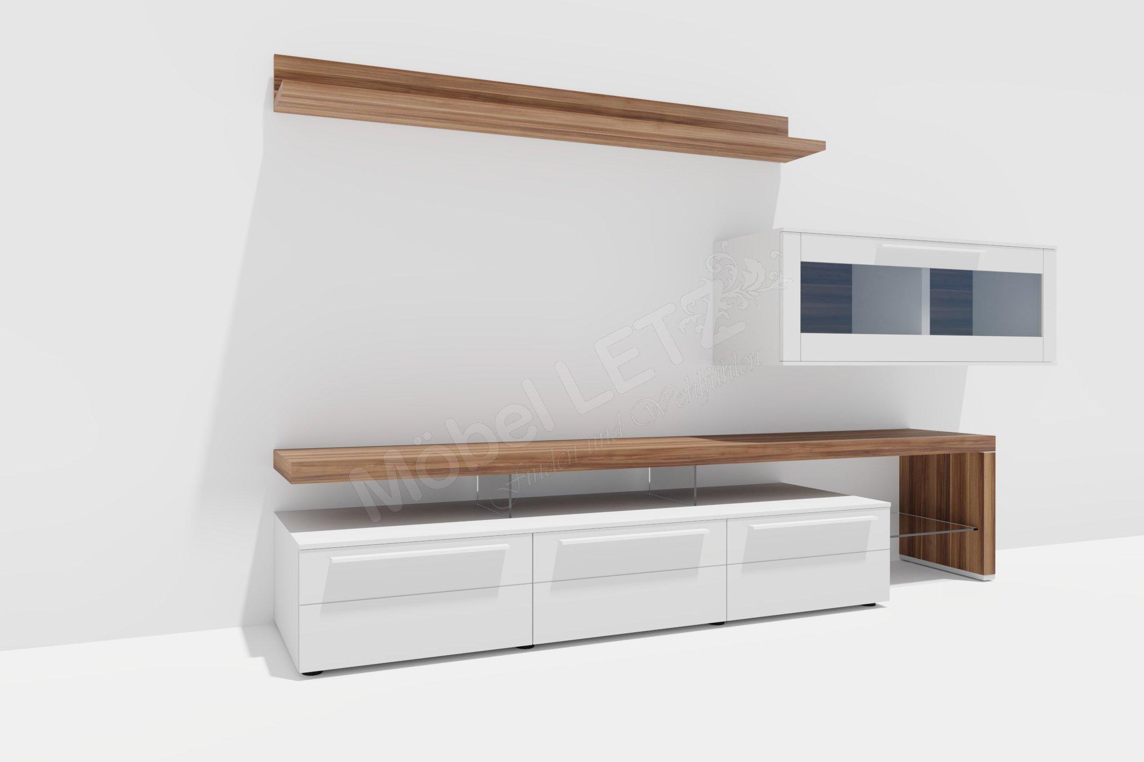 gwinner wohnwand bellano be 24 wei nussbaum m bel letz ihr online shop. Black Bedroom Furniture Sets. Home Design Ideas