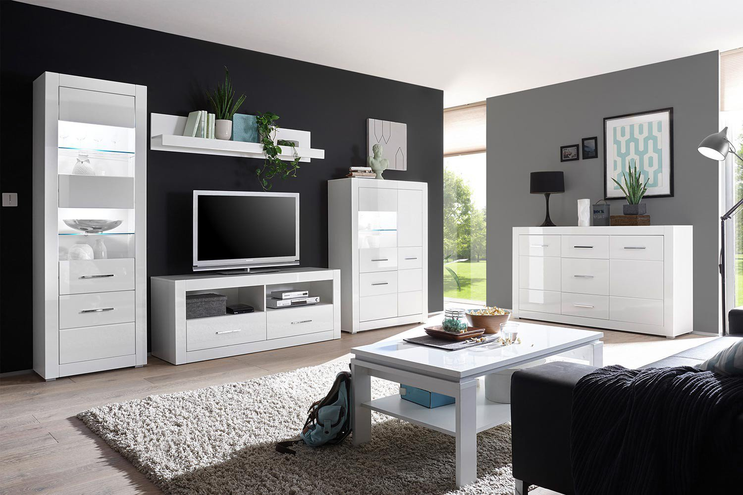 imv steinheim wohnwand bianco wei hochglanz m bel letz ihr online shop. Black Bedroom Furniture Sets. Home Design Ideas