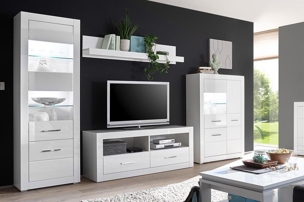 imv steinheim wohnwand bianco wei hochglanz m bel letz. Black Bedroom Furniture Sets. Home Design Ideas