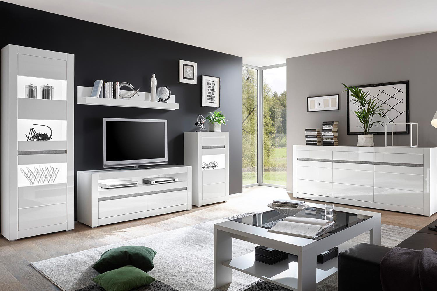 imv steinheim wohnwand carat wei hochglanz m bel letz. Black Bedroom Furniture Sets. Home Design Ideas