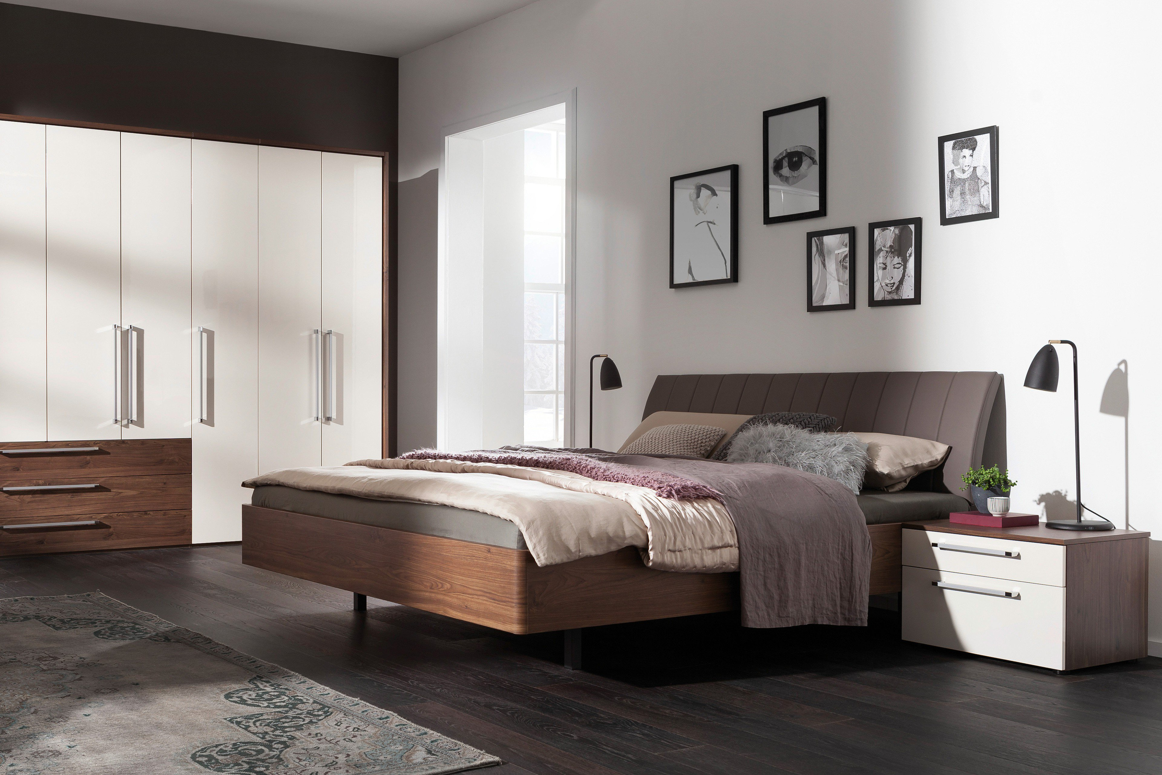 nolte m bel bett sonyo nussbaum samtbraun m bel letz ihr online shop. Black Bedroom Furniture Sets. Home Design Ideas
