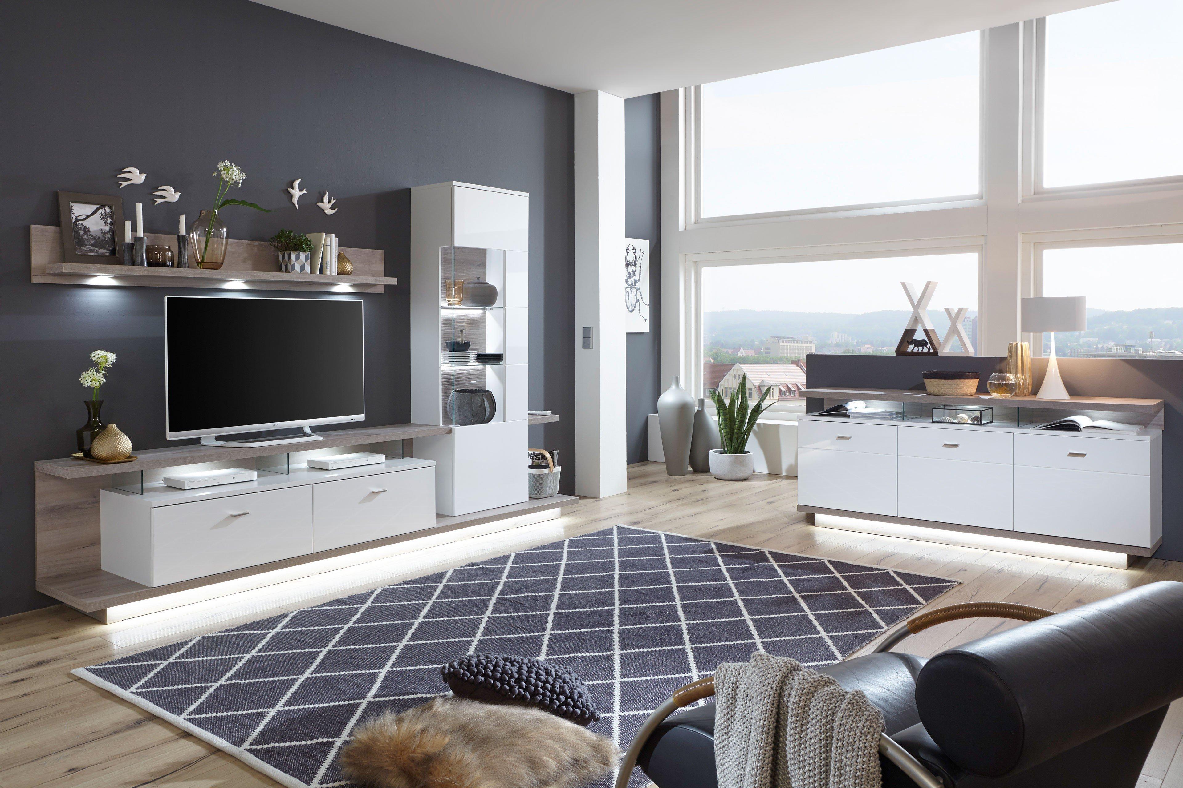 Ideal Möbel Wohnwand Nuna 12 Weiß Eiche Kronberg Dunkel Möbel
