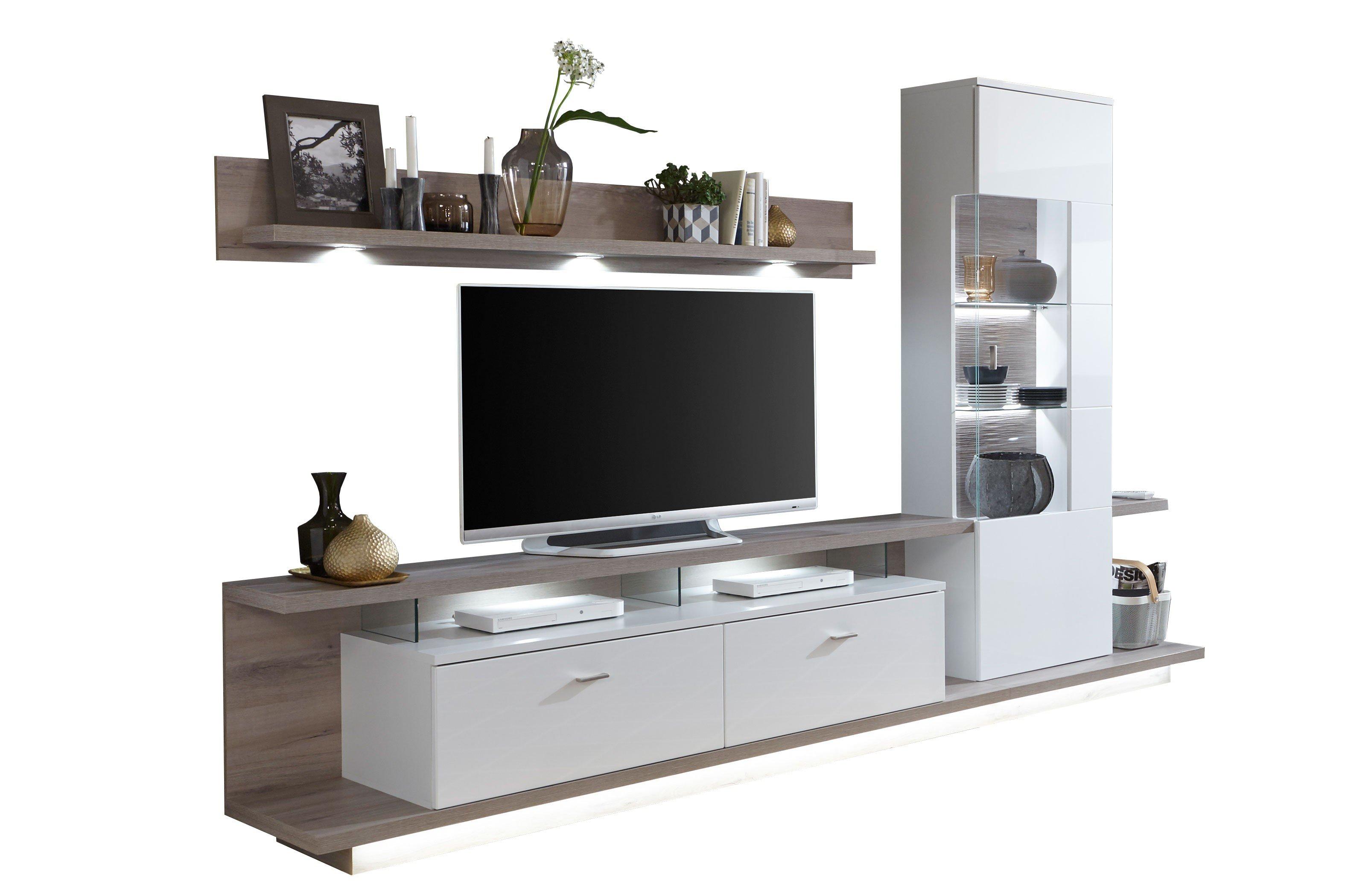 ideal m bel wohnwand nuna 12 wei eiche kronberg dunkel m bel letz ihr online shop. Black Bedroom Furniture Sets. Home Design Ideas