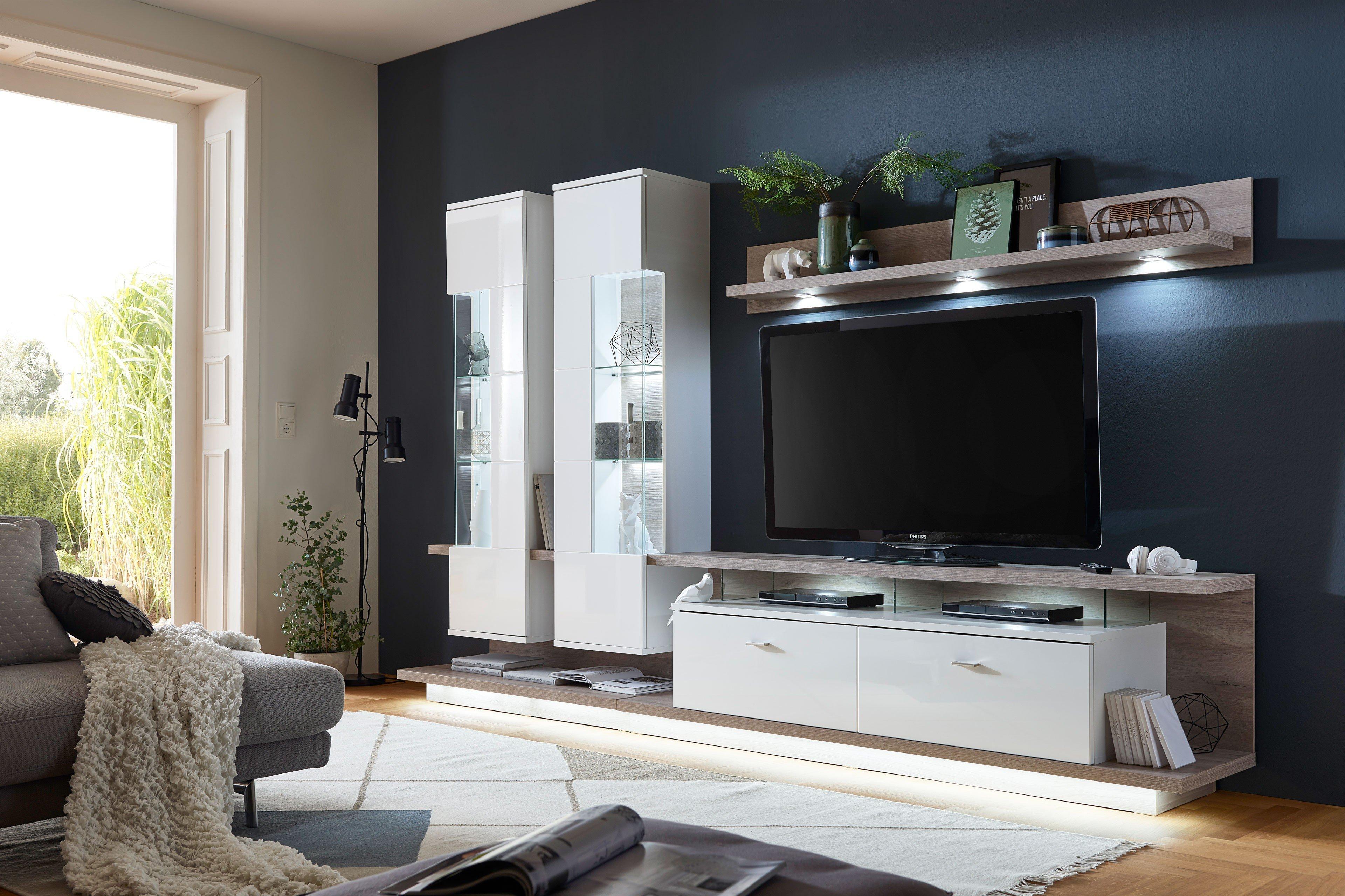 ideal m bel wohnwand nuna 13 wei eiche m bel letz ihr online shop. Black Bedroom Furniture Sets. Home Design Ideas