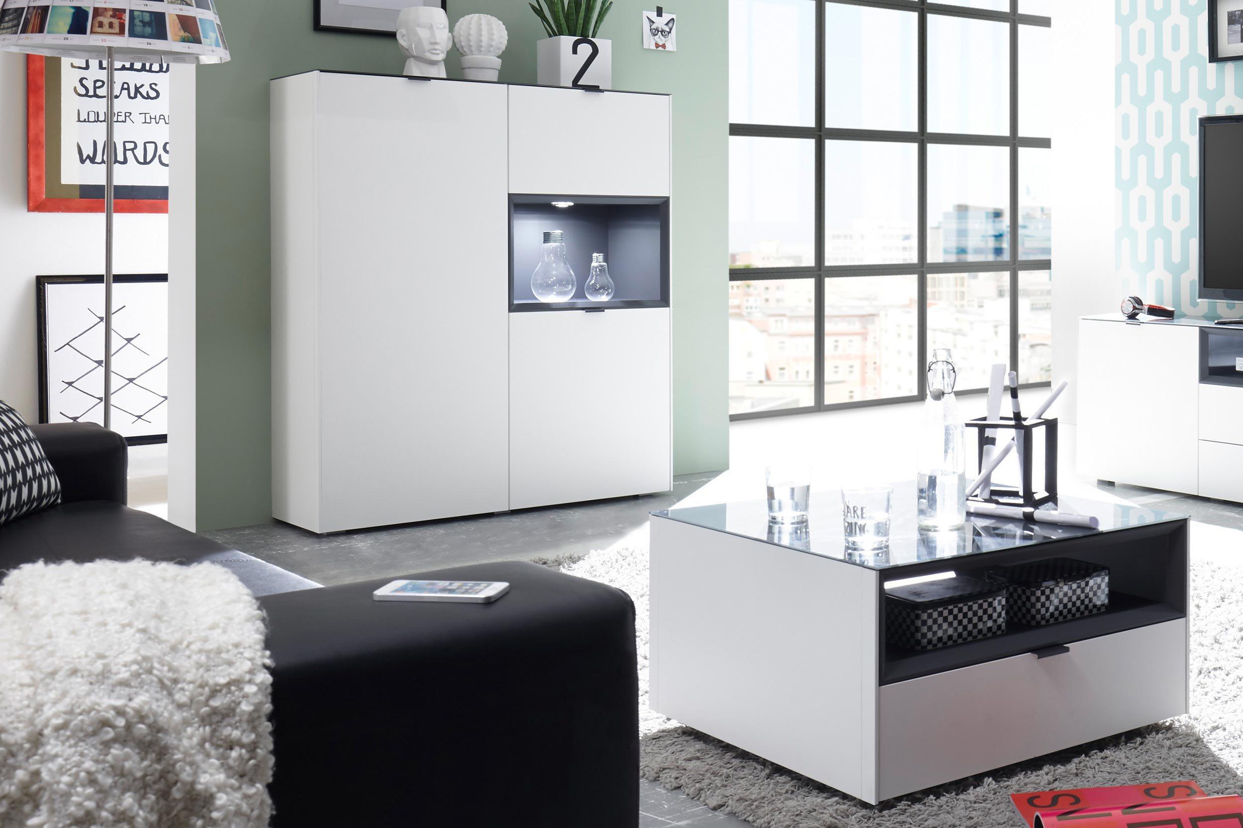 highboard micelli wei matt lack von m usbacher m bel letz ihr online shop. Black Bedroom Furniture Sets. Home Design Ideas