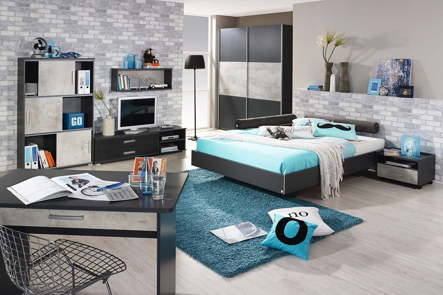 rauch mailo kleiderschrank grau stone print m bel letz ihr online shop. Black Bedroom Furniture Sets. Home Design Ideas