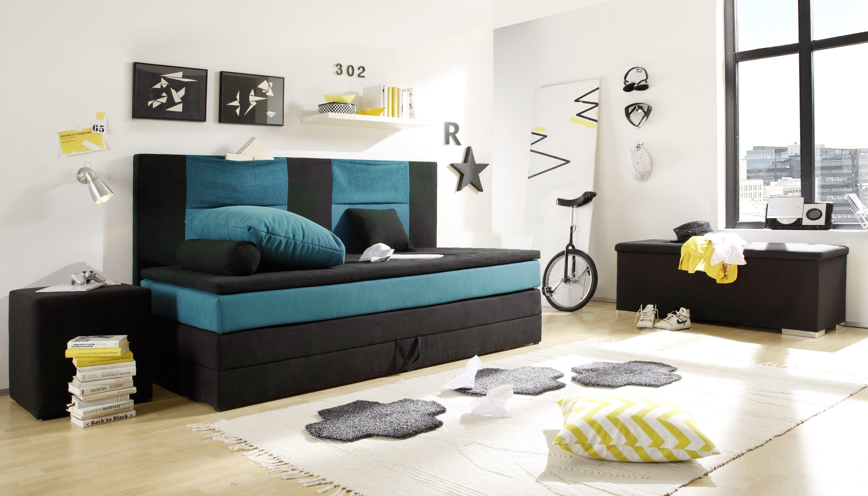 boxspringbett kid stripe black red white in schwarz petrol 90 x 200 cm m bel letz ihr online shop. Black Bedroom Furniture Sets. Home Design Ideas