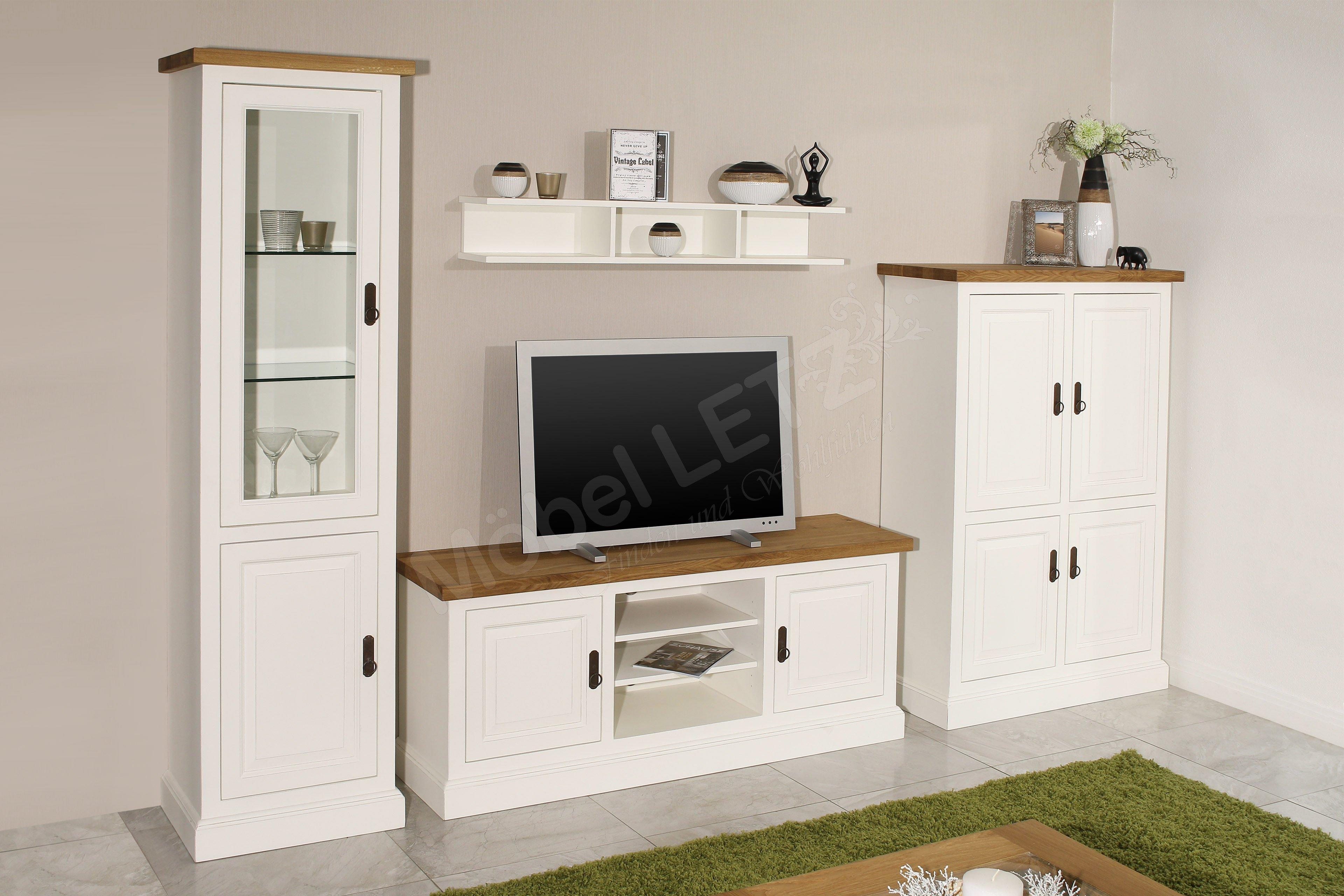ludwik styl wohnwand toulon massivholz wei m bel letz. Black Bedroom Furniture Sets. Home Design Ideas