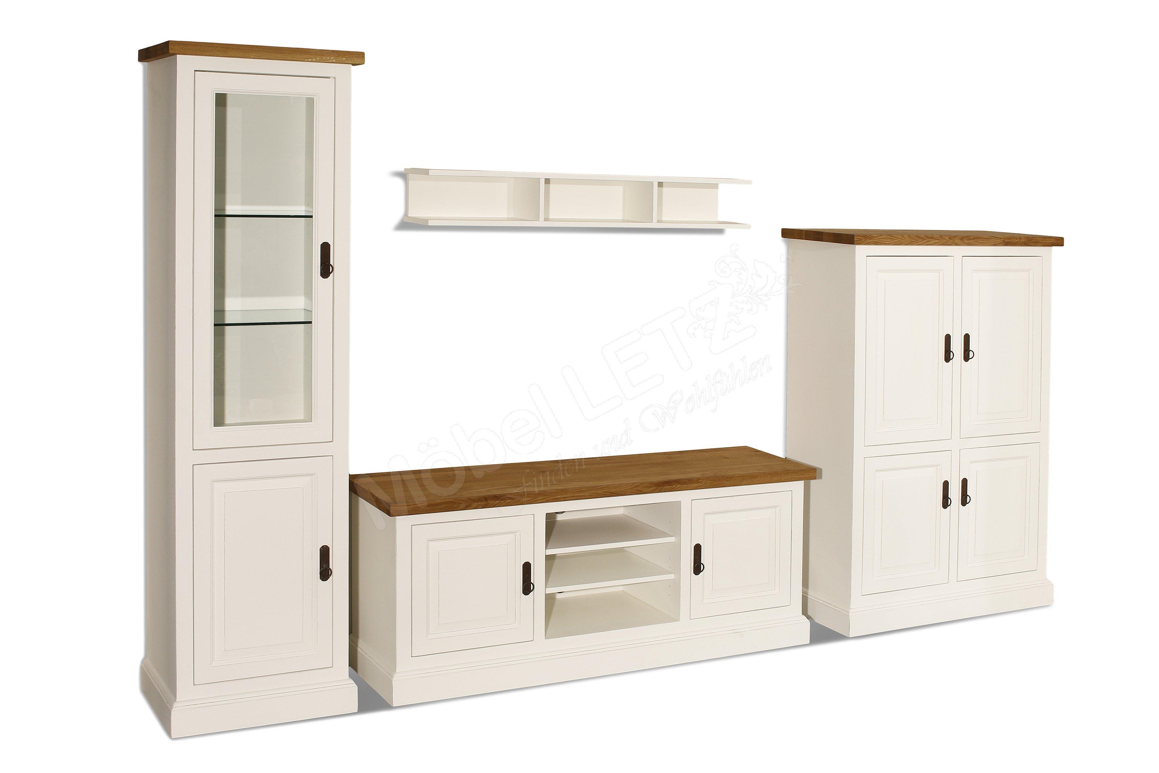 ludwik styl wohnwand toulon massivholz wei m bel letz ihr online shop. Black Bedroom Furniture Sets. Home Design Ideas