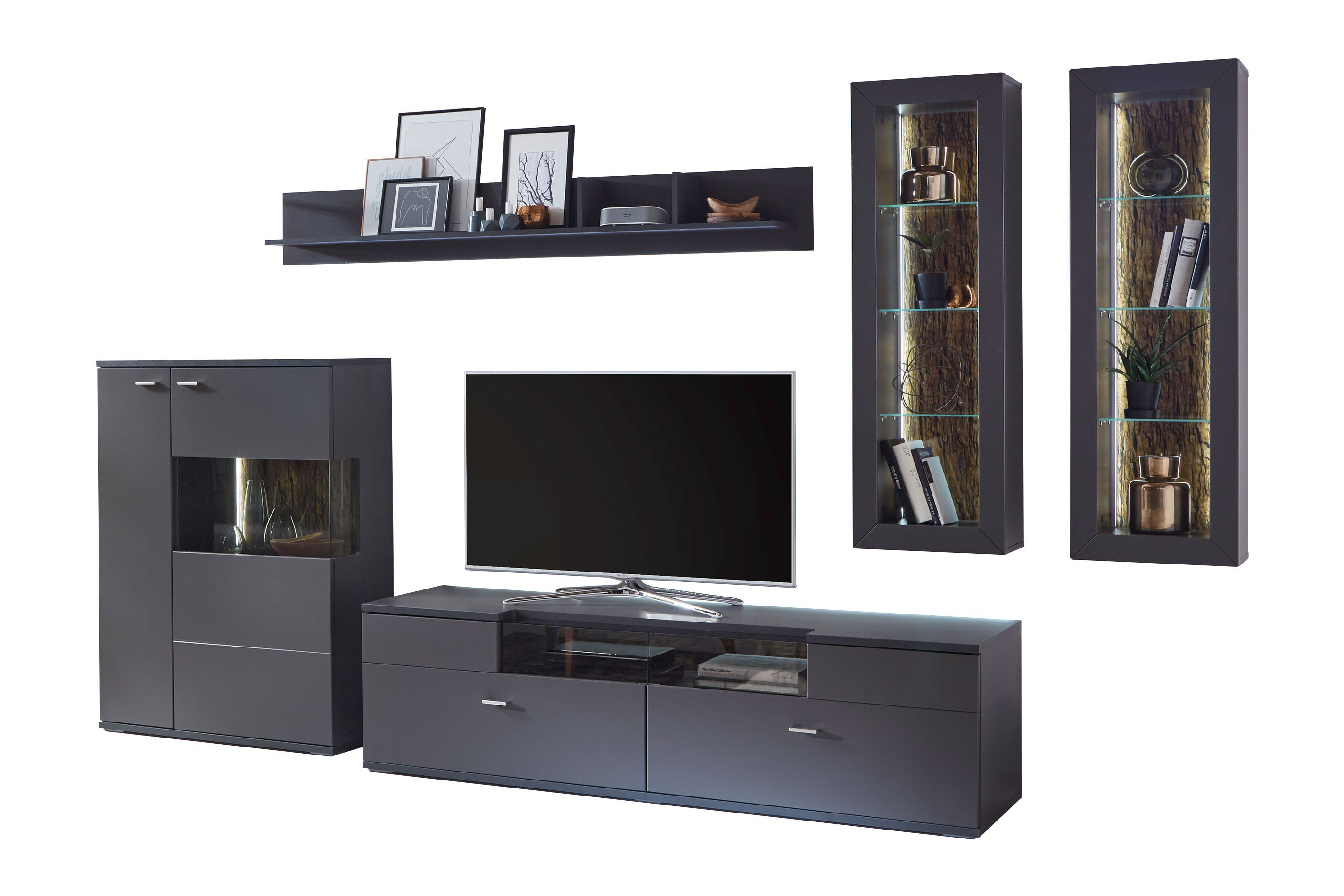 ideal m bel wohnwand kattia 10 graphit m bel letz ihr online shop. Black Bedroom Furniture Sets. Home Design Ideas
