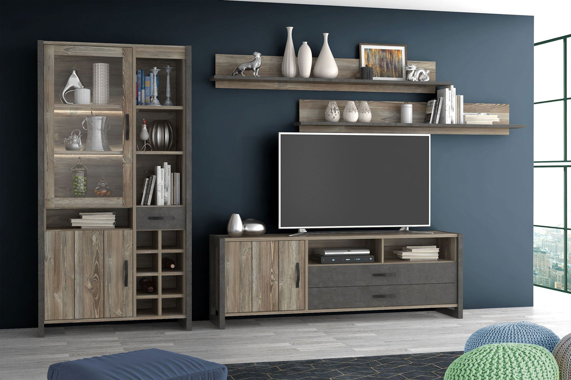 forte m bel wohnwand note betonoptik m bel letz ihr online shop. Black Bedroom Furniture Sets. Home Design Ideas