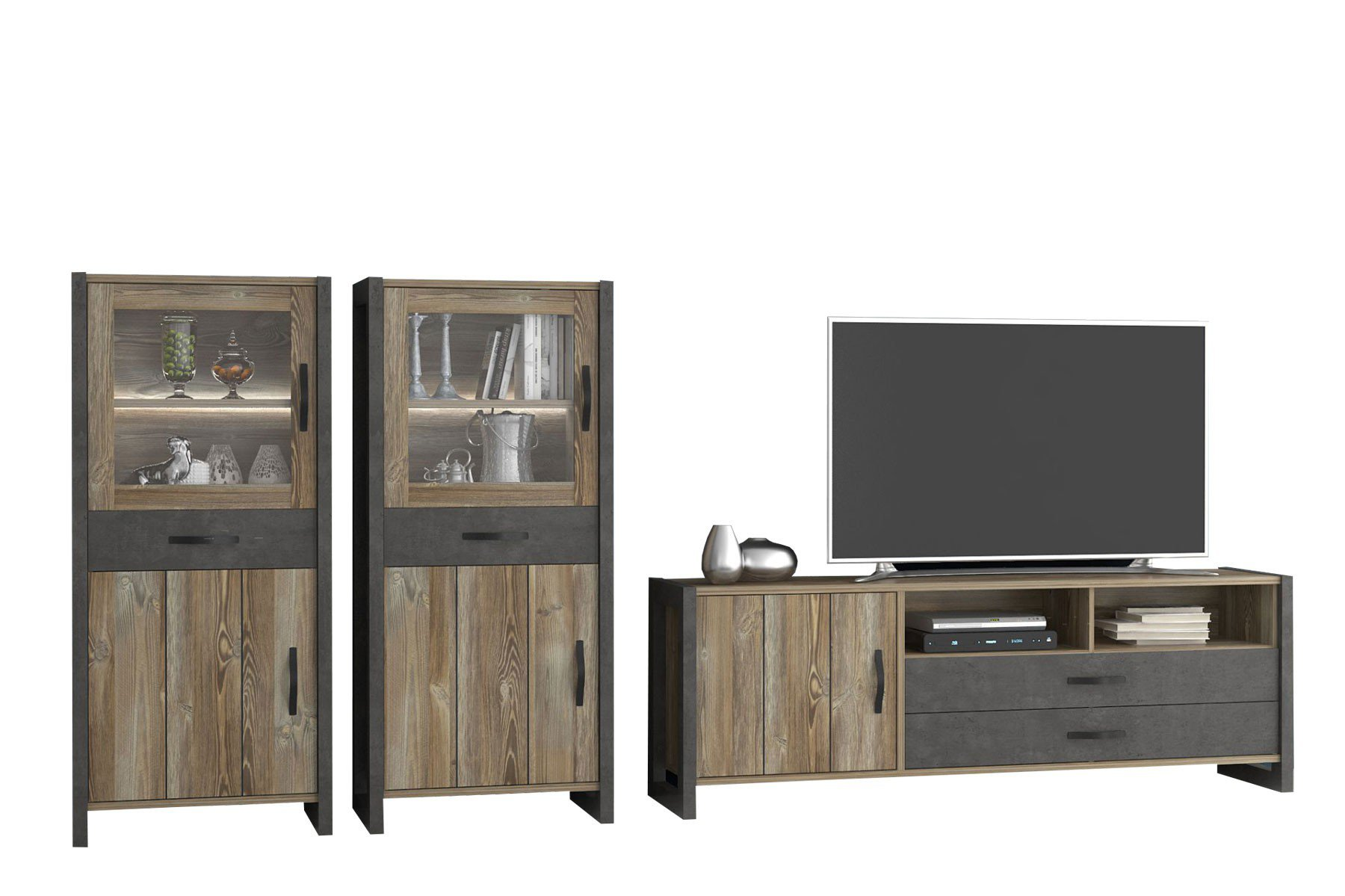 forte m bel wohnwand note grauer betonoptik m bel letz ihr online shop. Black Bedroom Furniture Sets. Home Design Ideas