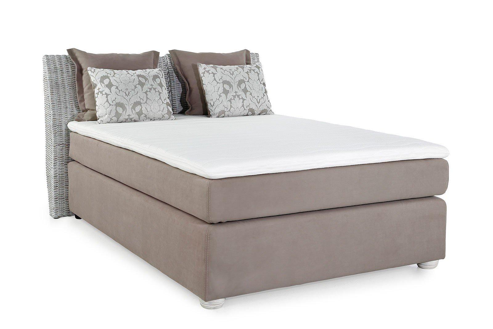 skandinavisches boxspringbett katrina in beige mit rattan kopfteil m bel letz ihr online shop. Black Bedroom Furniture Sets. Home Design Ideas