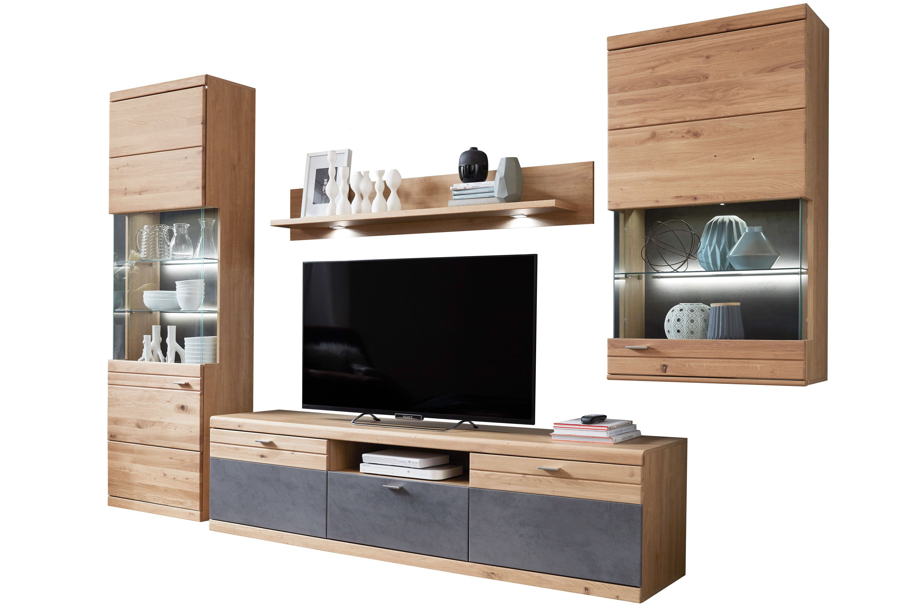 ideal m bel wohnwand elena 13 alteiche oxid m bel letz ihr online shop. Black Bedroom Furniture Sets. Home Design Ideas