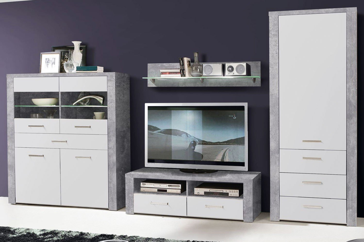 forte m bel wohnwand levante betonoptik m bel letz ihr online shop. Black Bedroom Furniture Sets. Home Design Ideas