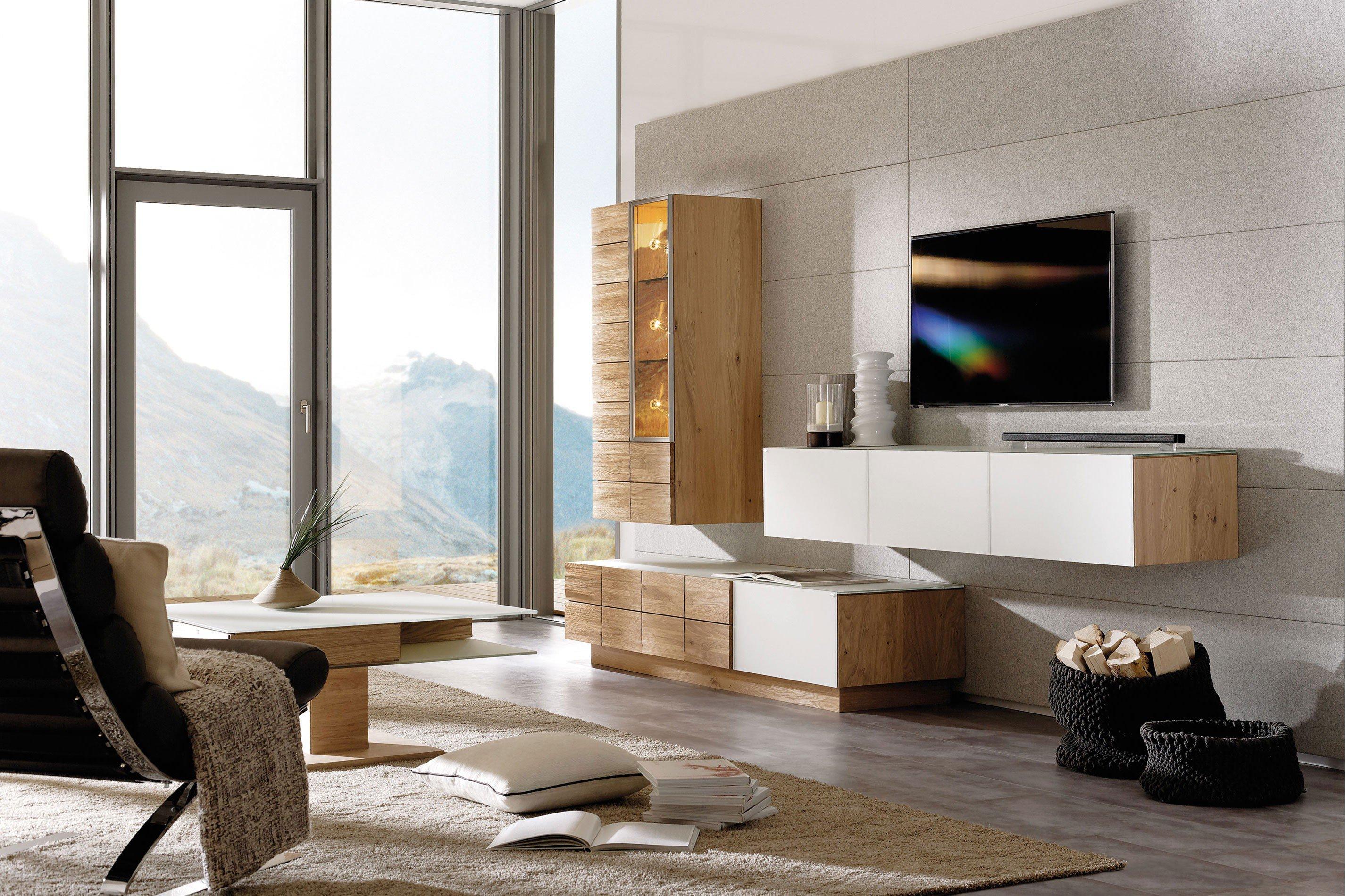 voglauer wohnwand v montana 170 eiche colorglas optiwhite m bel letz ihr online shop. Black Bedroom Furniture Sets. Home Design Ideas